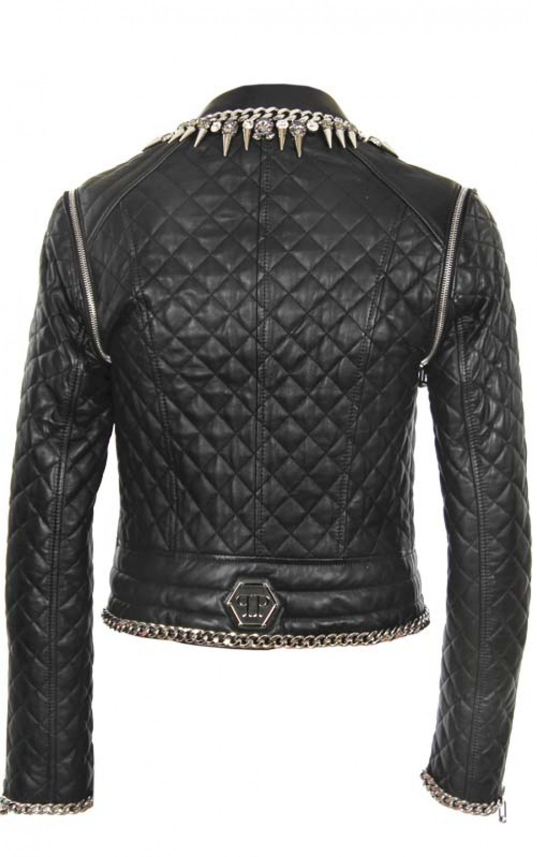 10e2d8b9a2 ... Philipp-Plein-Womens-Chained-Leather-Jacket-Black-Boudi- ...