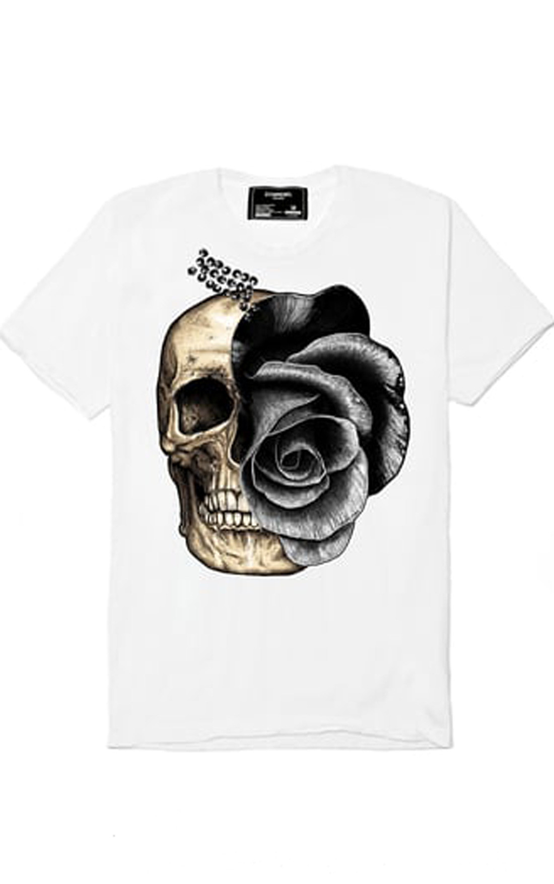 Dom rebel mens skull rose white swarovski crystal t for Swarovski crystal t shirts