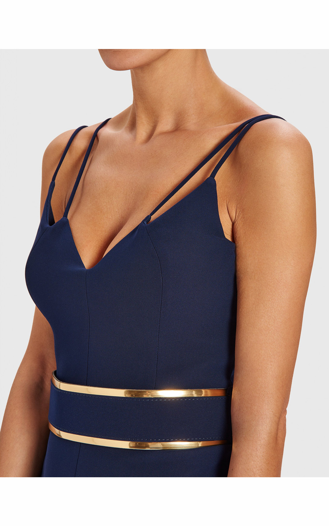 2d21a6f8faea ... Forever Unique - Brooke Navy Double Strap Jumpsuit With Gold Waistband  (AB8904) ...