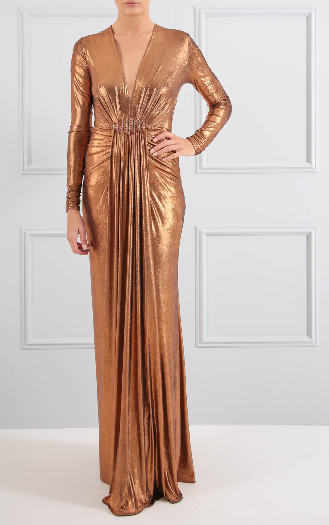 Forever Unique Dresses Womens Cher Metallic Bronze Maxi
