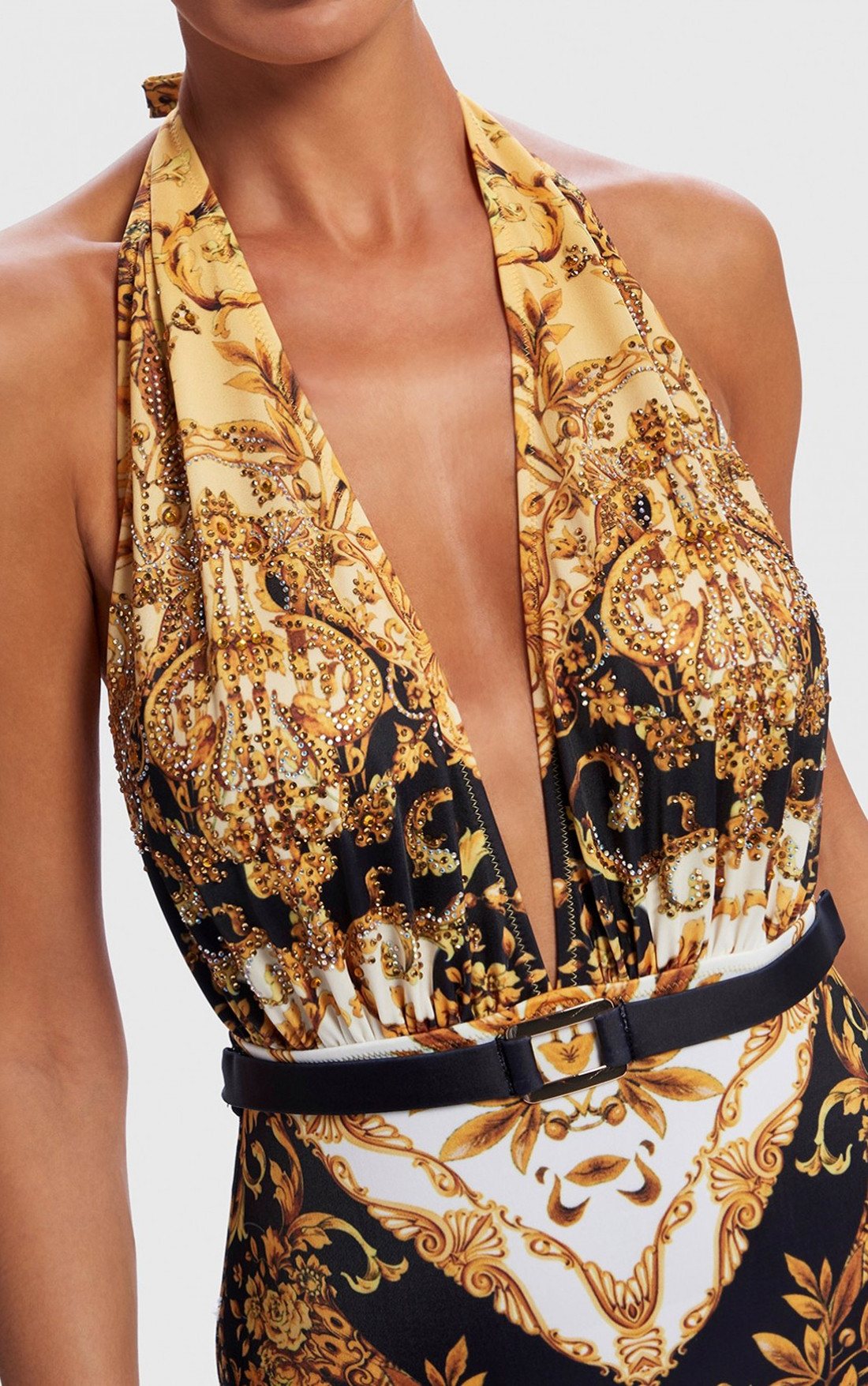 c3dd4bf411 ... Forever Unique - Nolana Black And Gold Baroque Print Plunge Neck  Swimsuit With Belt (AF1709 ...