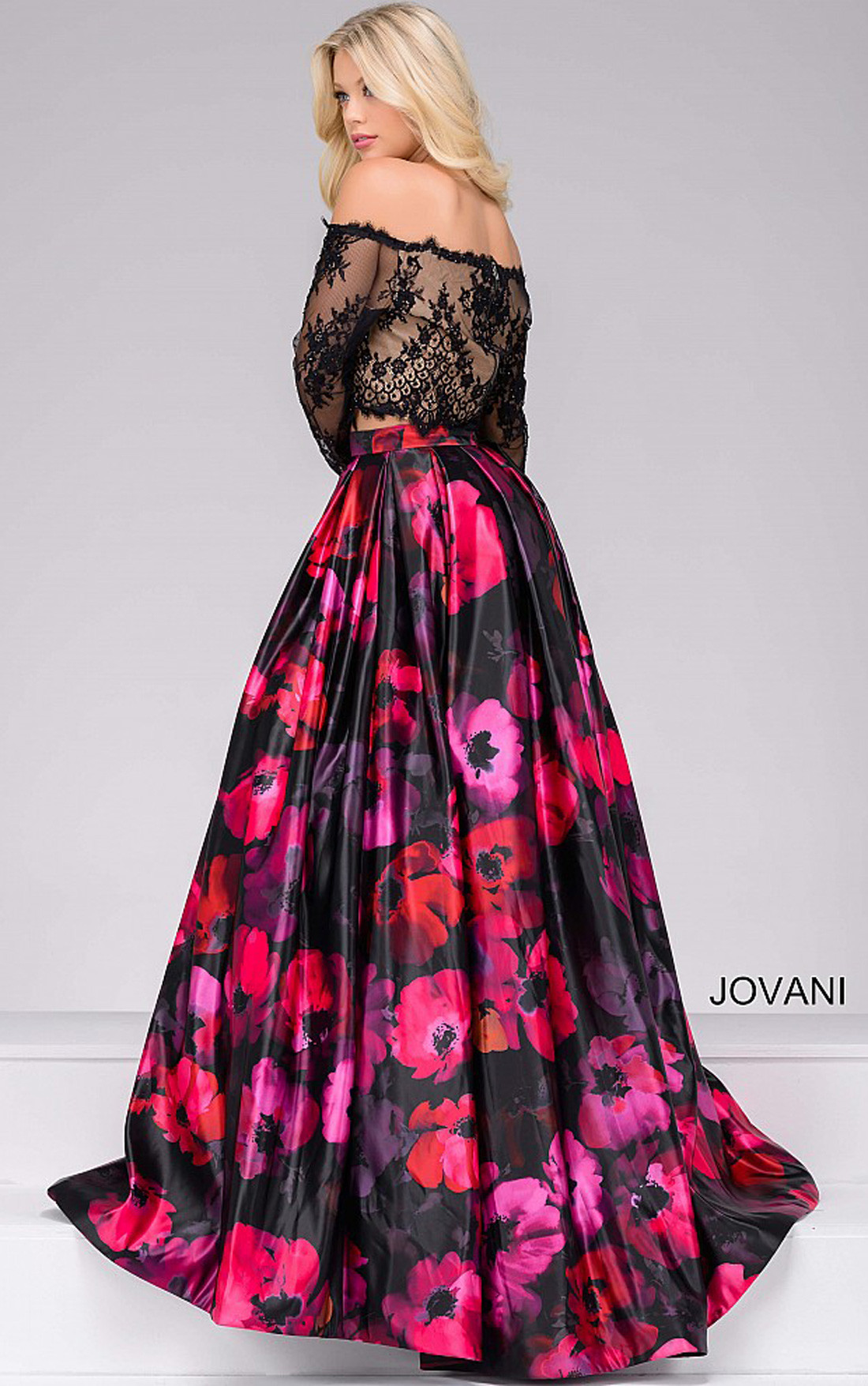 Jovani Dresses Womens Black And Multi Floral Print Two