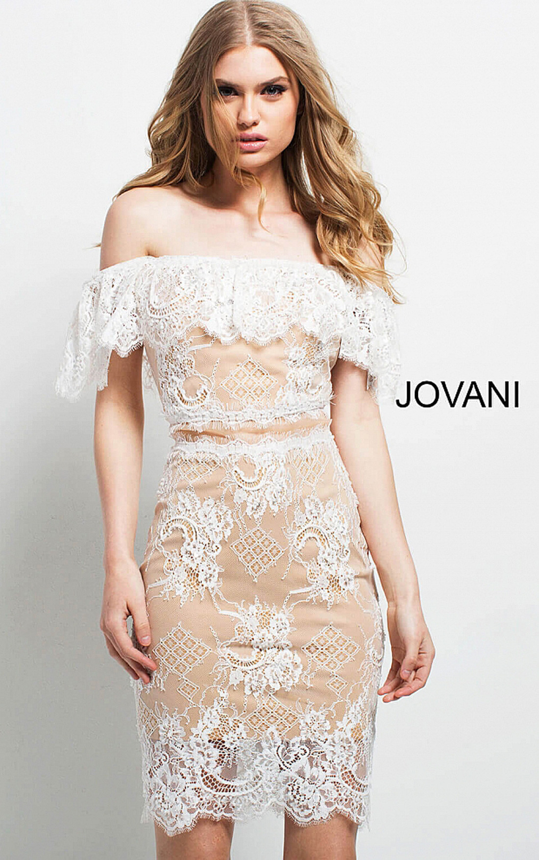 8ab799d36ae ... Jovani - White Fitted Off the Shoulder Lace Cocktail Dress (49816)