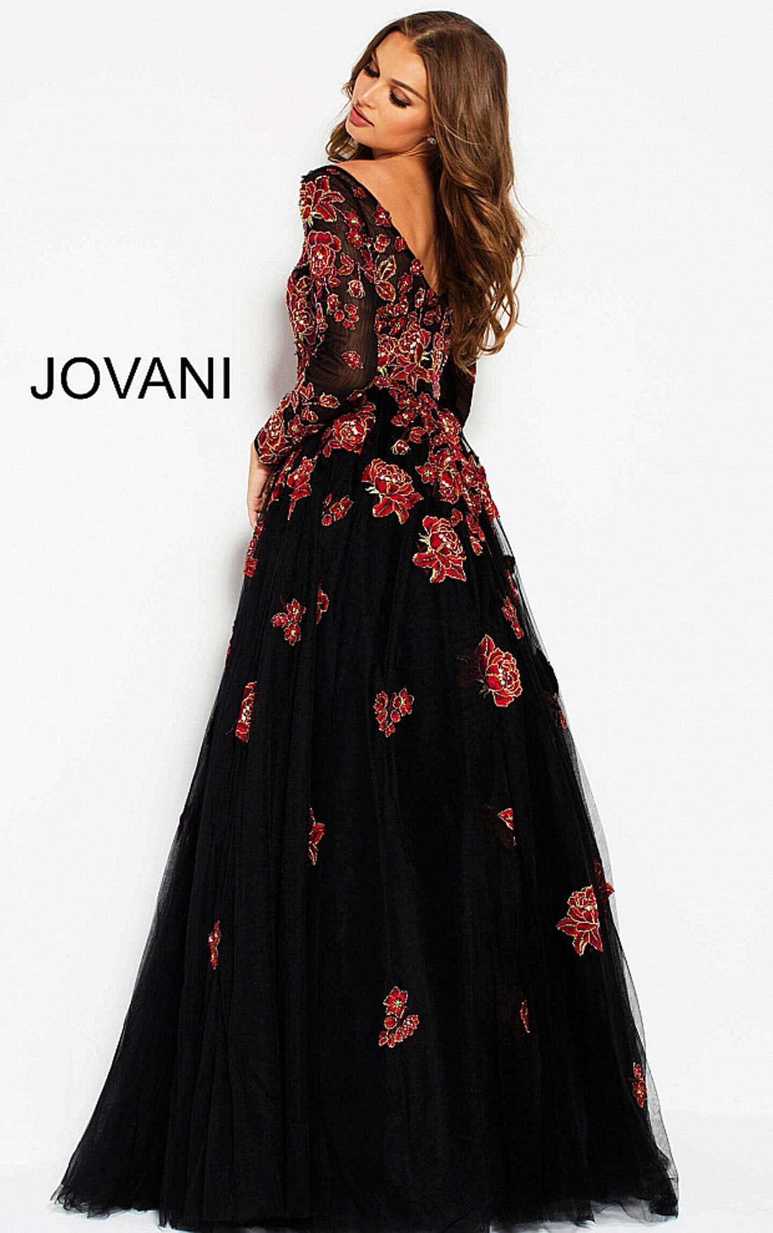 Jovani Dresses | Womens Black Gown with Red Floral Embroidery ...