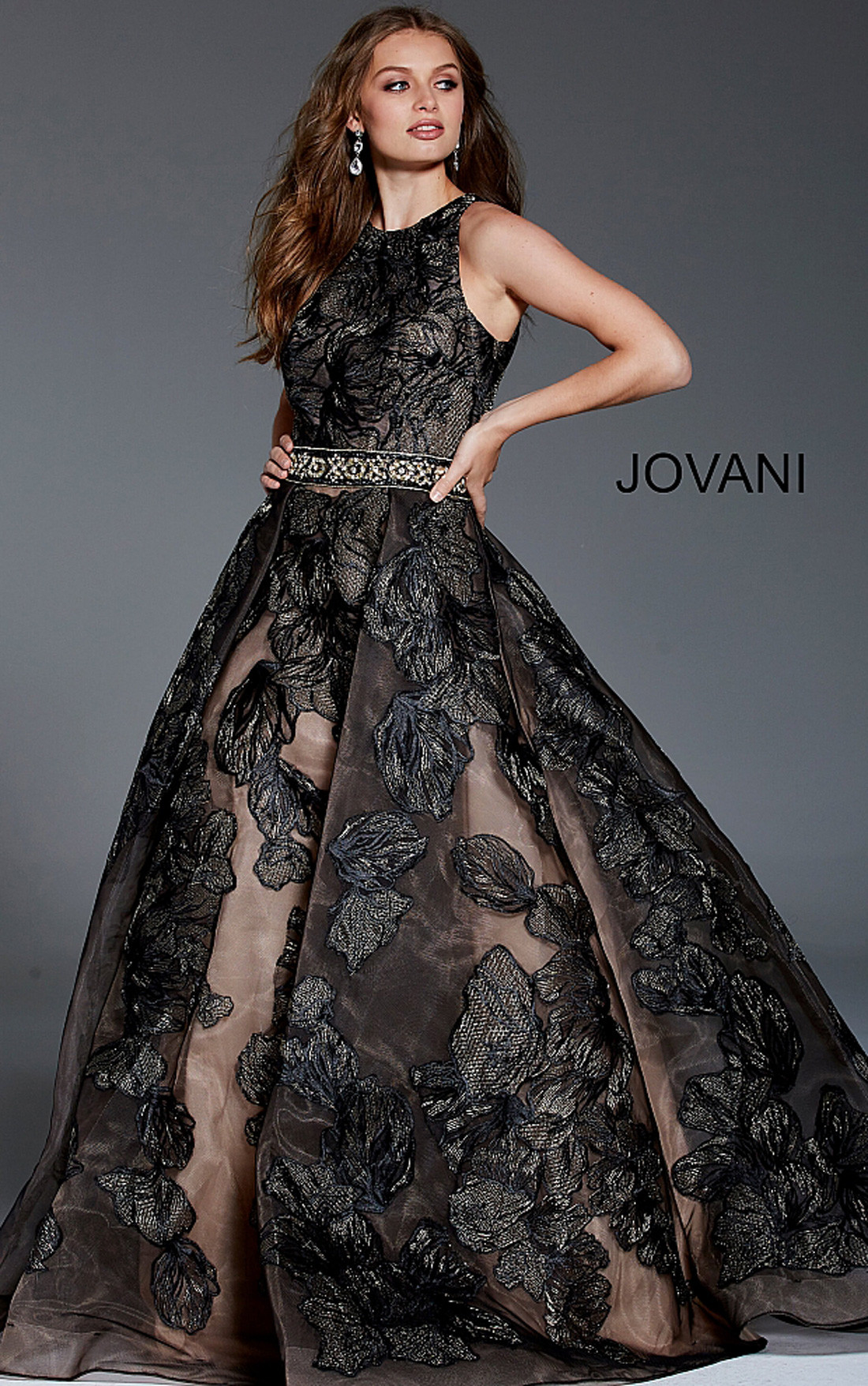 9777e1c04c3fe ... Jovani - Black Floral Sleeveless A-Line Gown (58914)