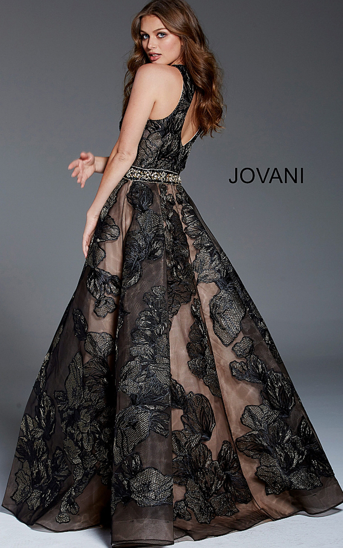 Jovani Dresses   Womens Black Floral Sleeveless A-Line Gown   Womens ...