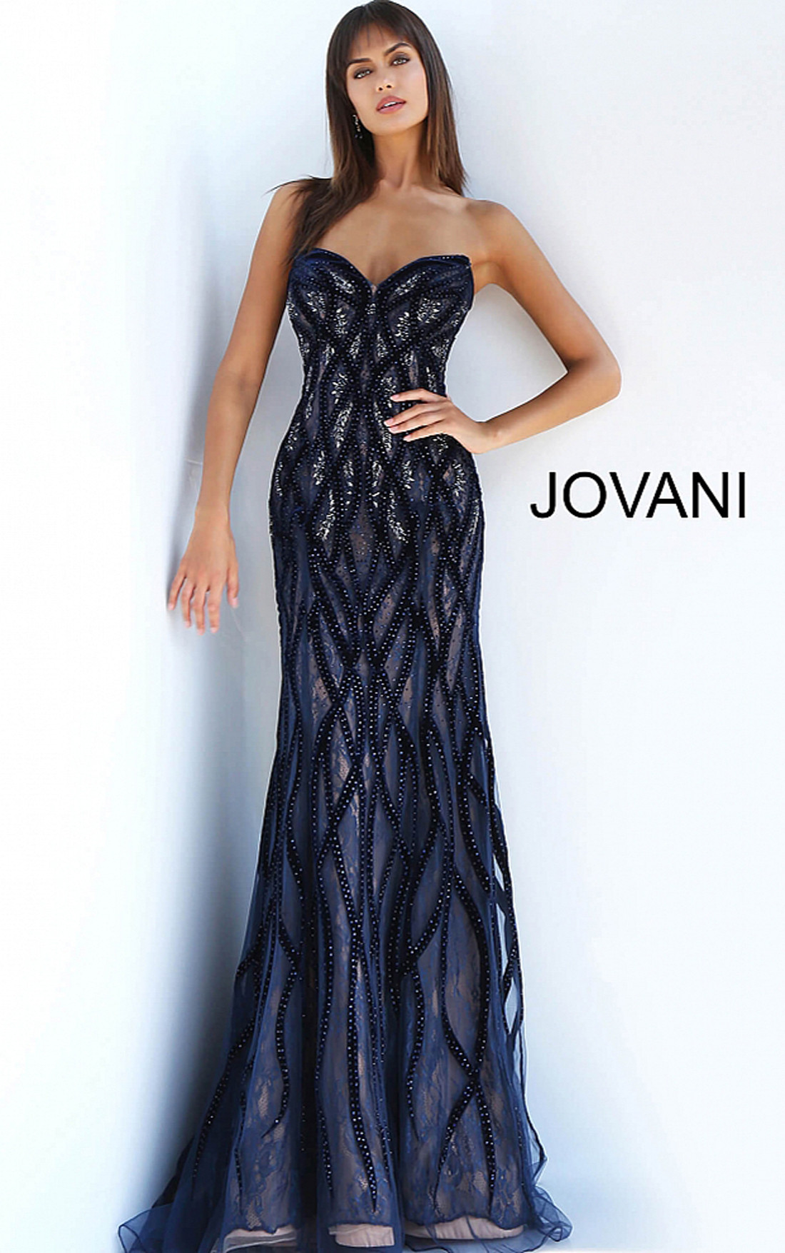 828e4df2b253 Jovani Dresses | Womens Navy Embellished Lace Strapless Gown ...