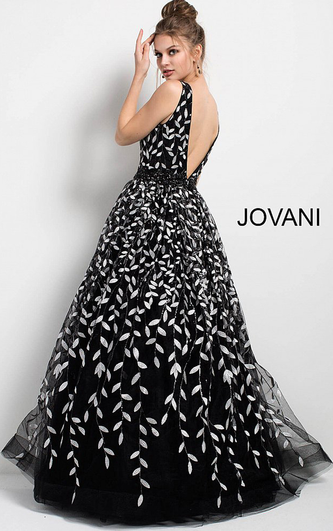 Jovani Dresses | Womens Black and White Floral Gown | Womens Dresses ...