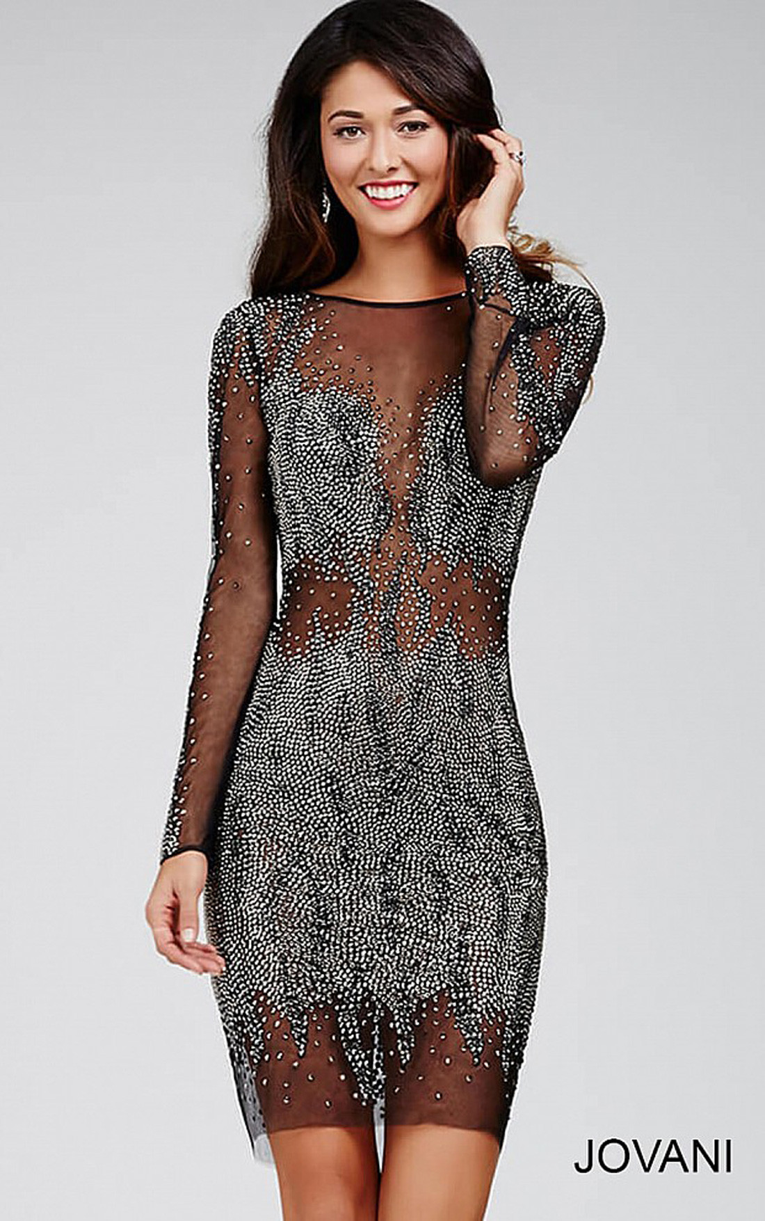 Jovani Dresses | Womens Black Sheer Dress with Crystal ...