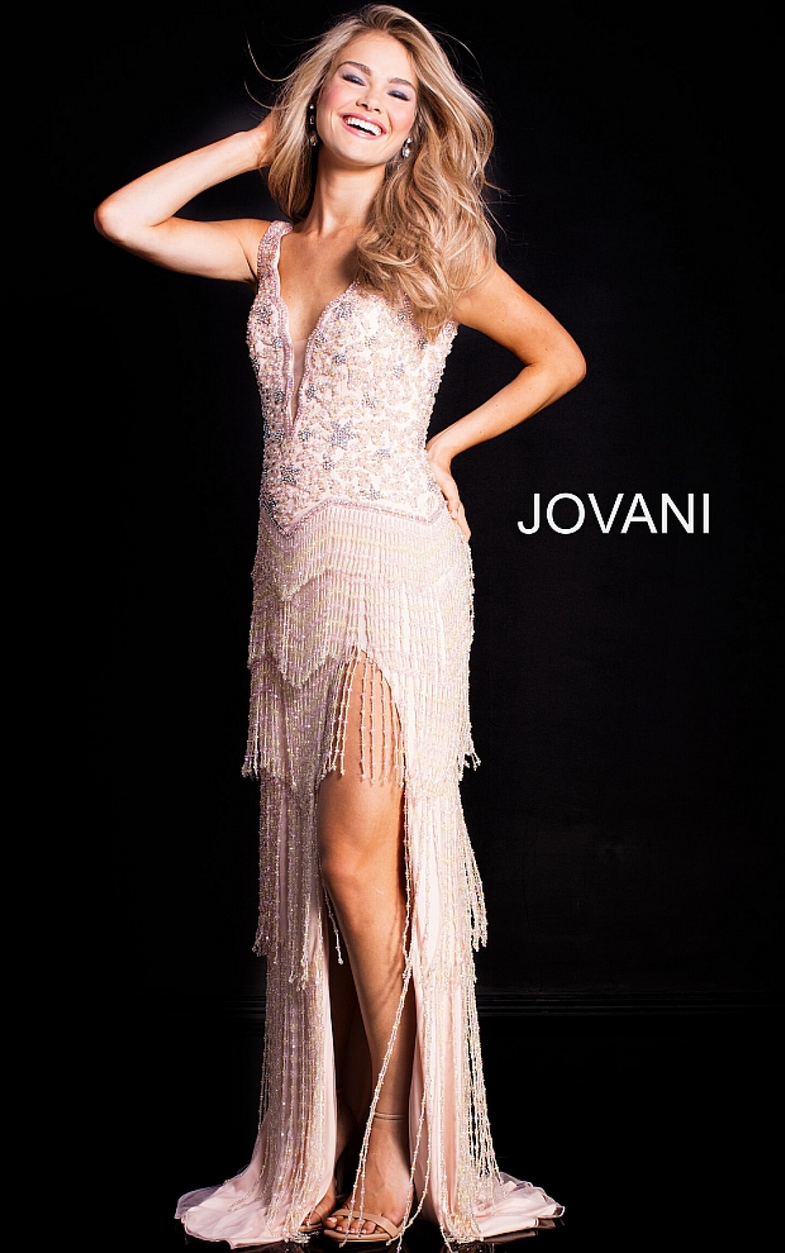 68230512ea67 Jovani Dresses | Womens Blush Embellished Sleeveless Dress | Womens ...