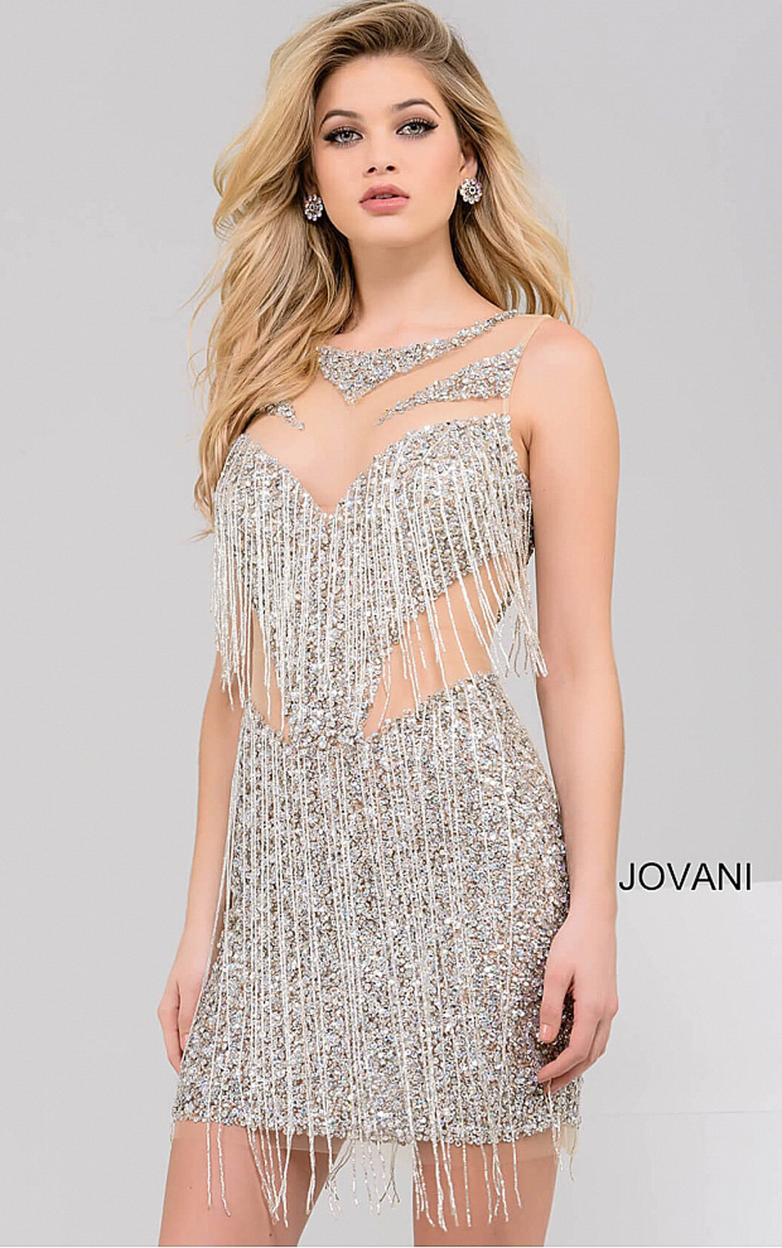 jovani dresses womens silver and nude beaded short