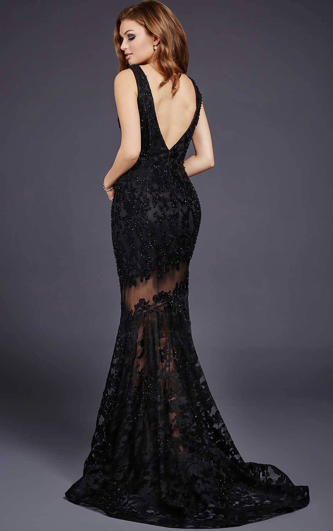 Jovani Dresses | Womens Charcoal Sheer and Lace Evening ...