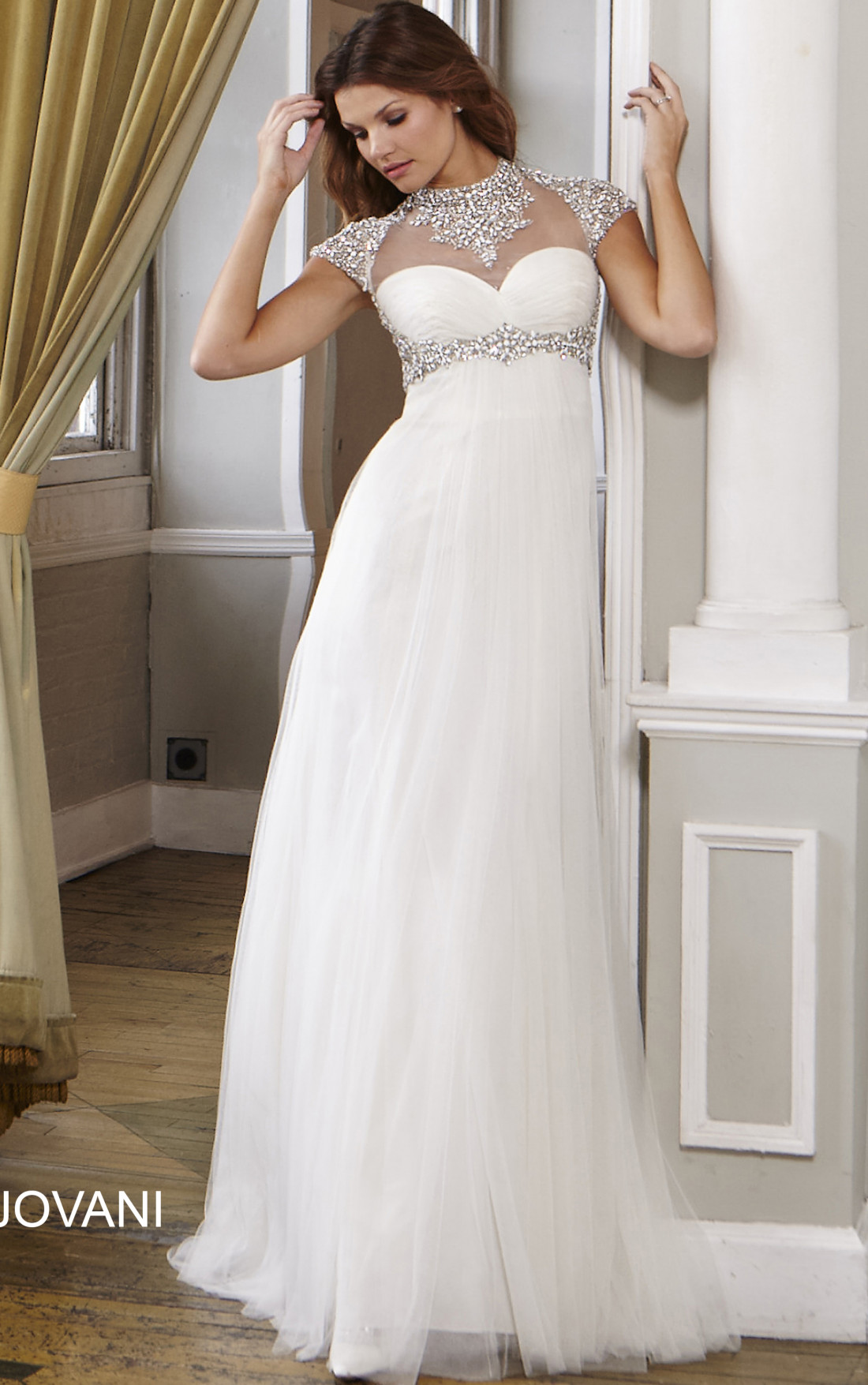 Jovani - Empire Waist Ivory Wedding Gown