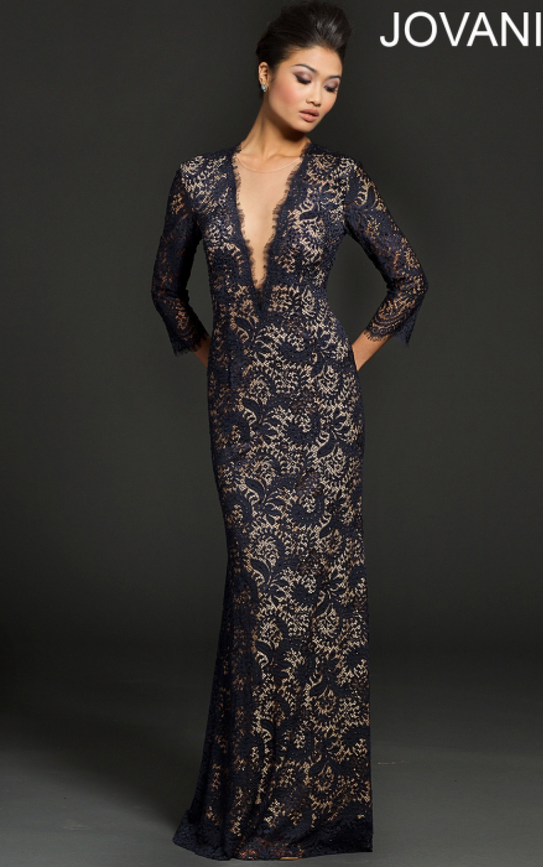 Jovani Dresses | Womens Midnight Lace Long Sleeve Evening ...