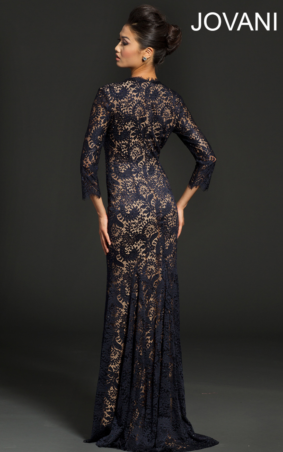 Jovani Dresses | Womens Midnight Lace Long Sleeve Evening Dress ...
