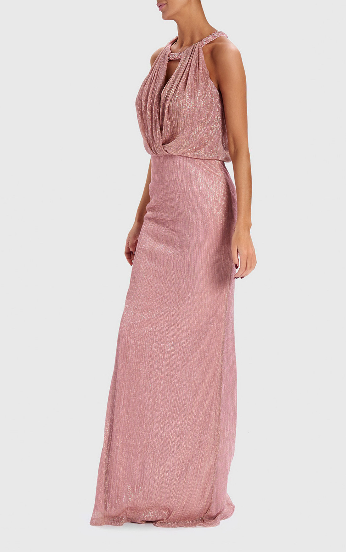 211c1bdbe28a ... Forever Unique - Shimmer Nude Metallic Draped Maxi Dress (AB0922) ...