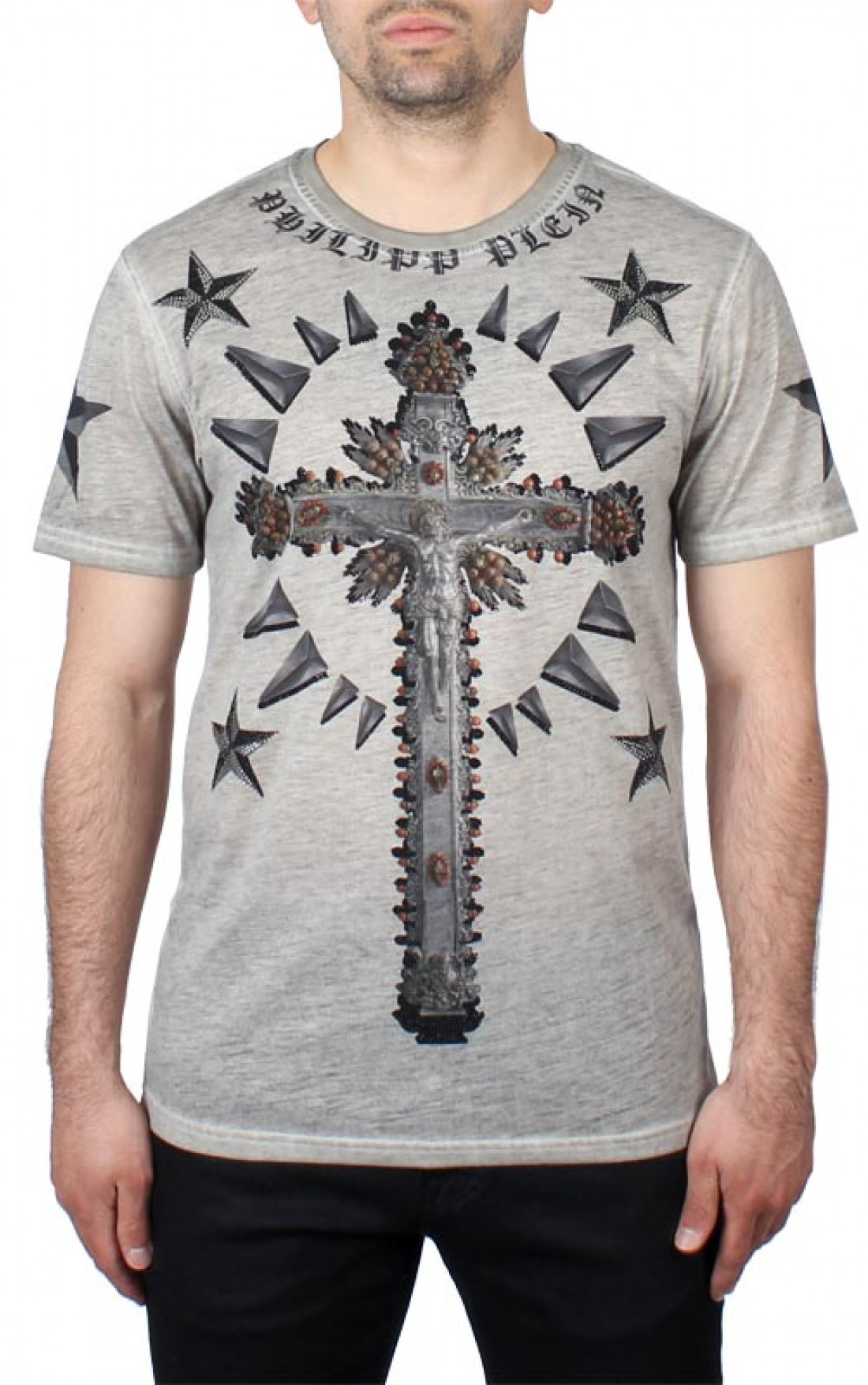 philipp plein 39 tee cross 39 t shirt light grey boudi uk
