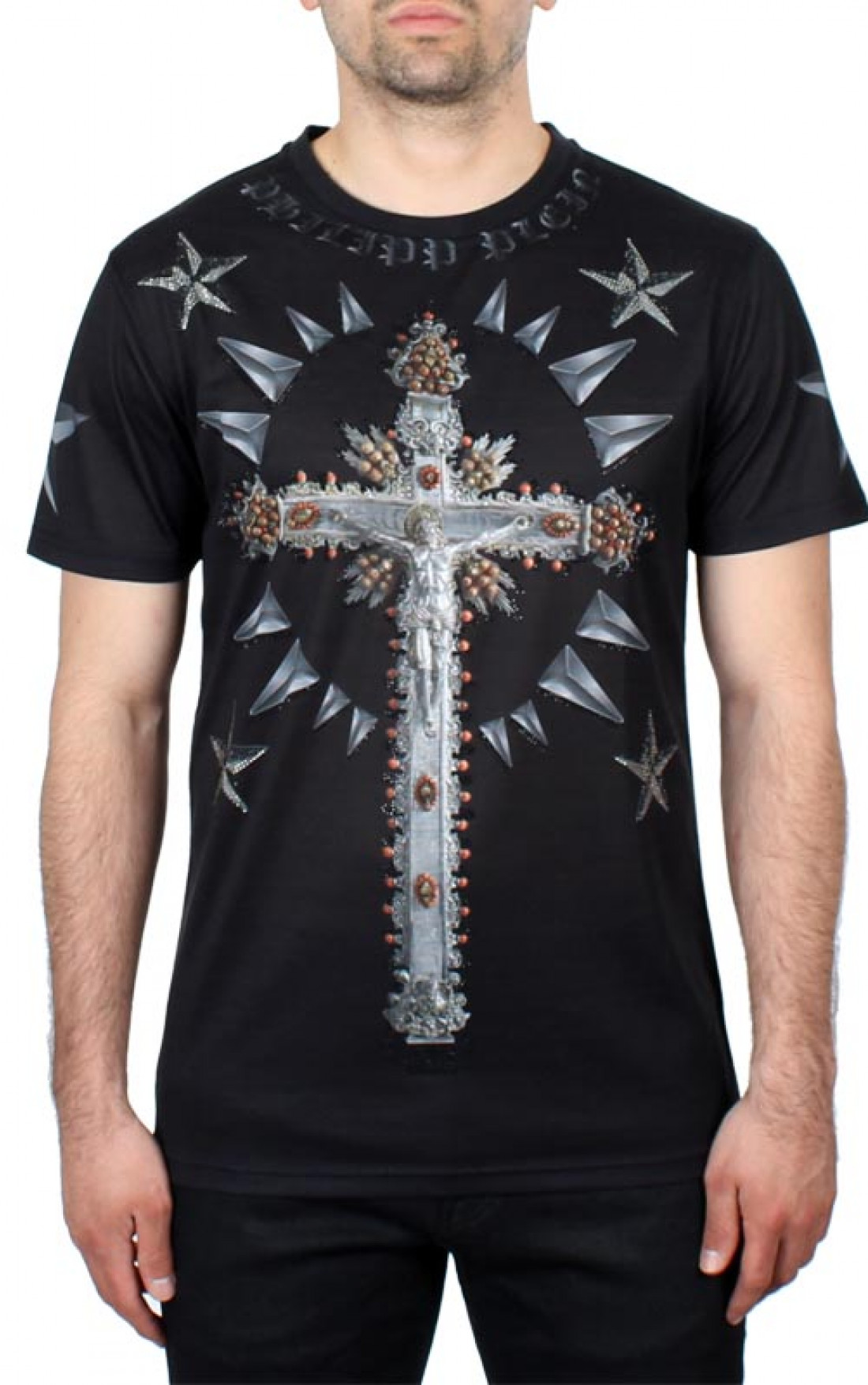 philipp plein 39 tee cross 39 t shirt black boudi uk
