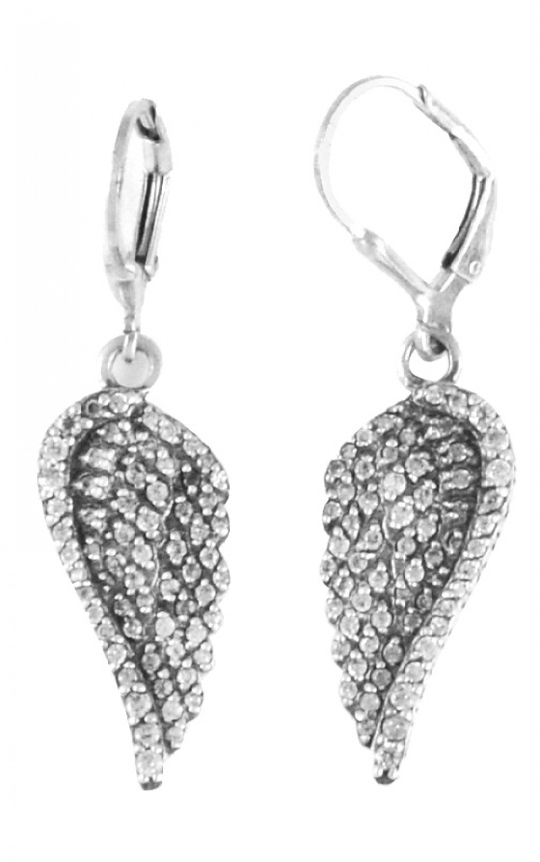 Queen Baby Small Cz Pave Wing Leverback Earrings