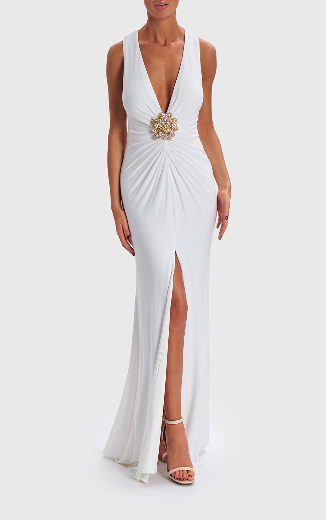 2dfcbb8ae10c Forever Unique - Jeannie Ivory Gown With Diamante Brooch (AB0921) ...