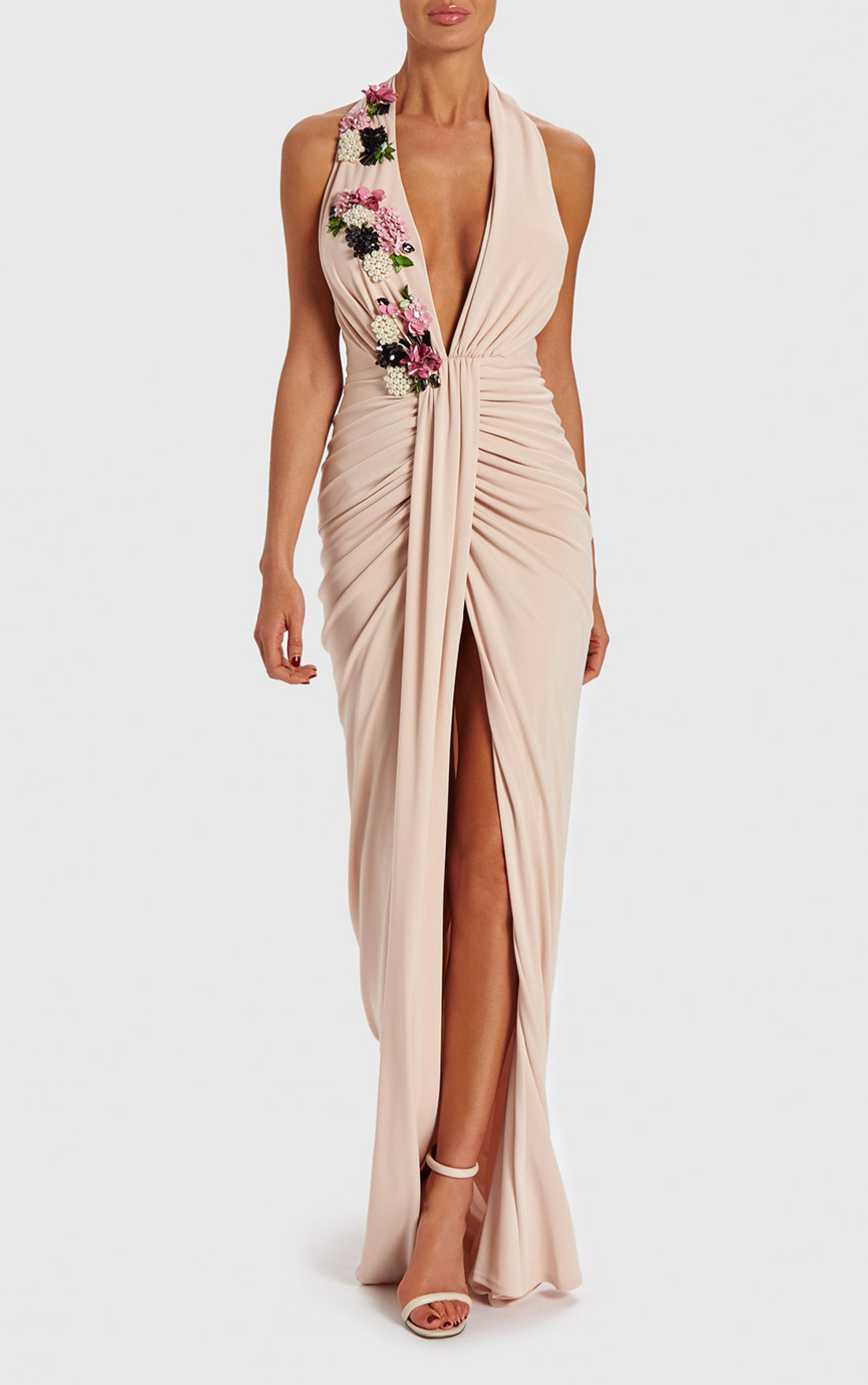 6c25853704e5 Forever Unique - Lianne Soft Pink Ruched Maxi Dress With 3D Flower  Embellishments (AB8507) ...