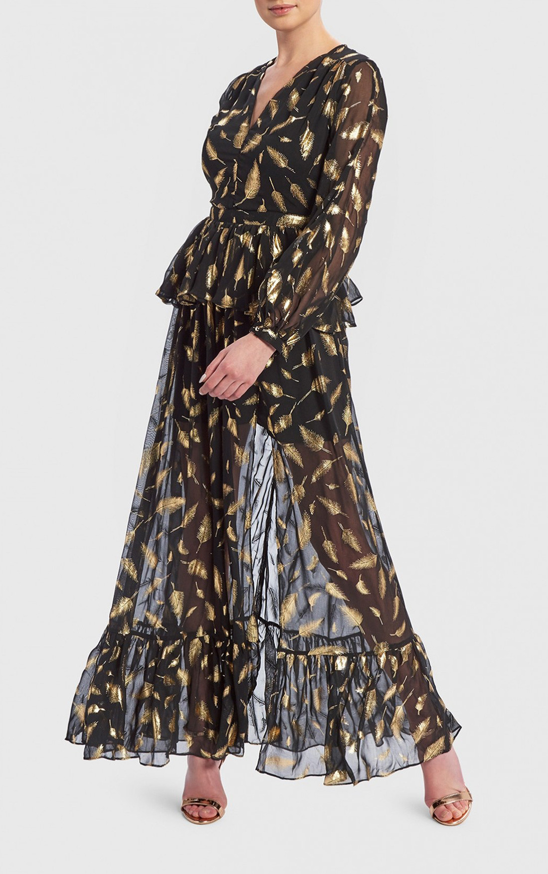 664dcf5ef61c1 Forever Unique Dresses | Womens Black Dress with Gold Leaves ...