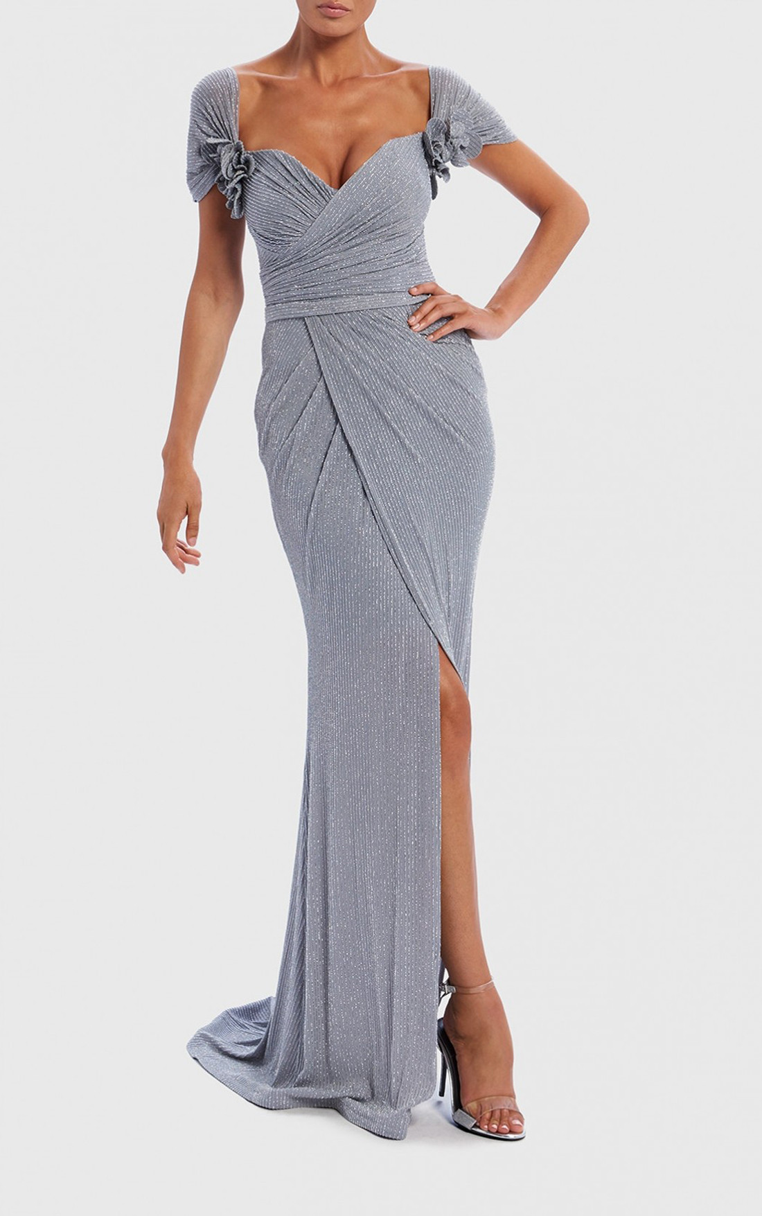 Forever Unique   Cindy Grey Metallic Shimmer Capped Sleeve Maxi Dress