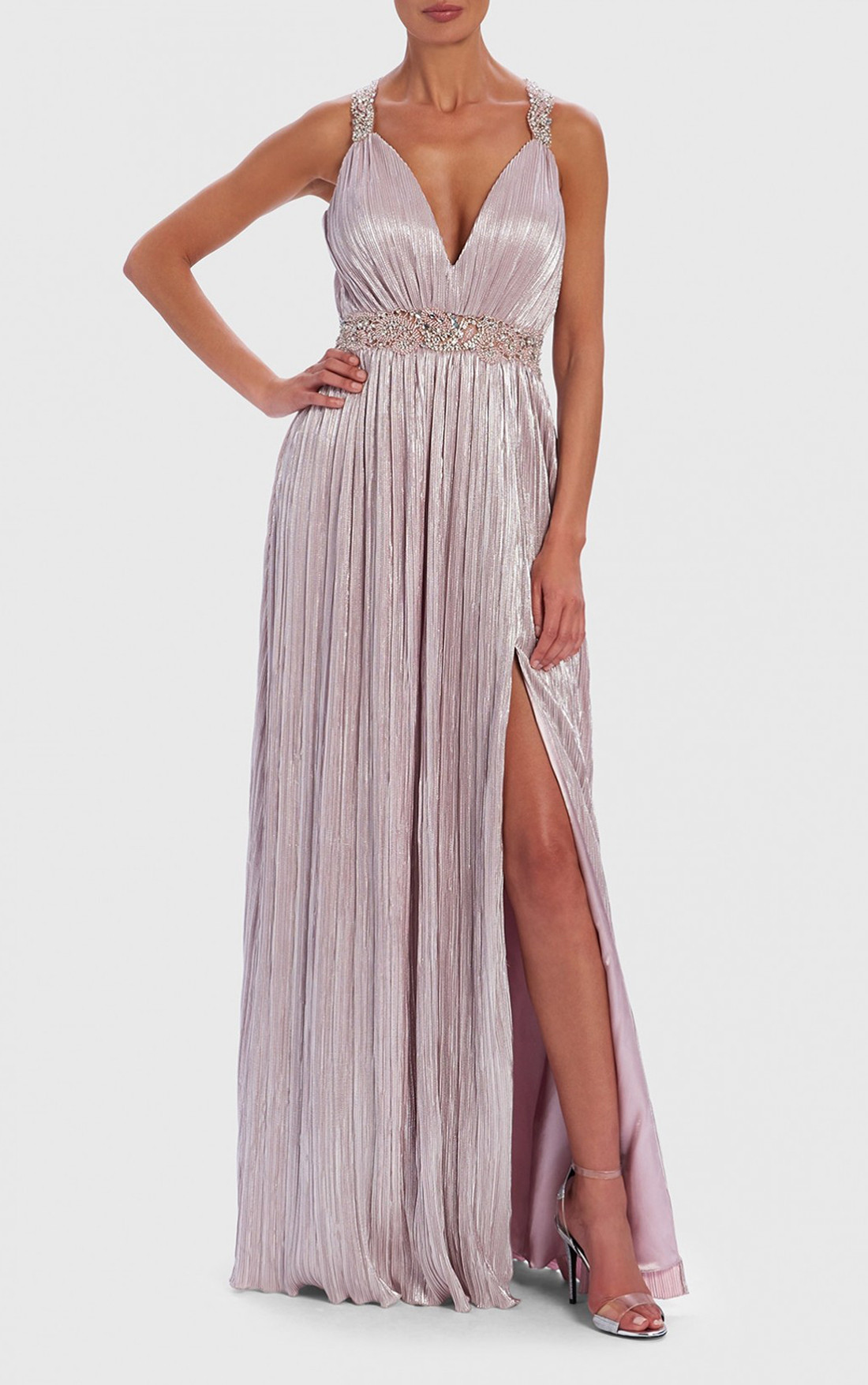 enjoy bottom price classic style buying new Forever Unique - Elle Metallic Nude Embellished Maxi Dress With Thigh Split