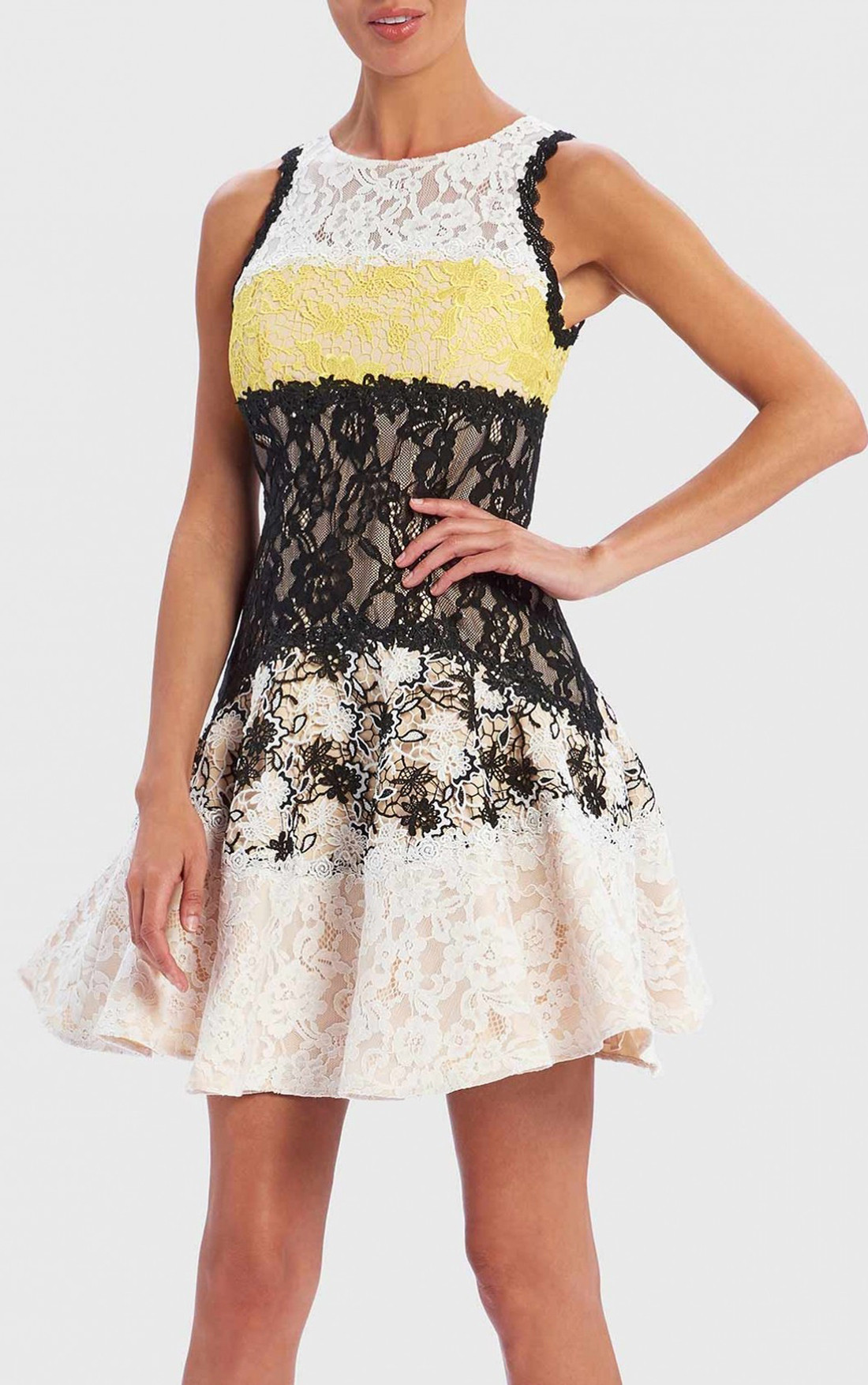 6fb3affb1d2d Forever Unique - Milan Black, Yellow And White Contrast Lace Skater Dress  (AF0107) ...