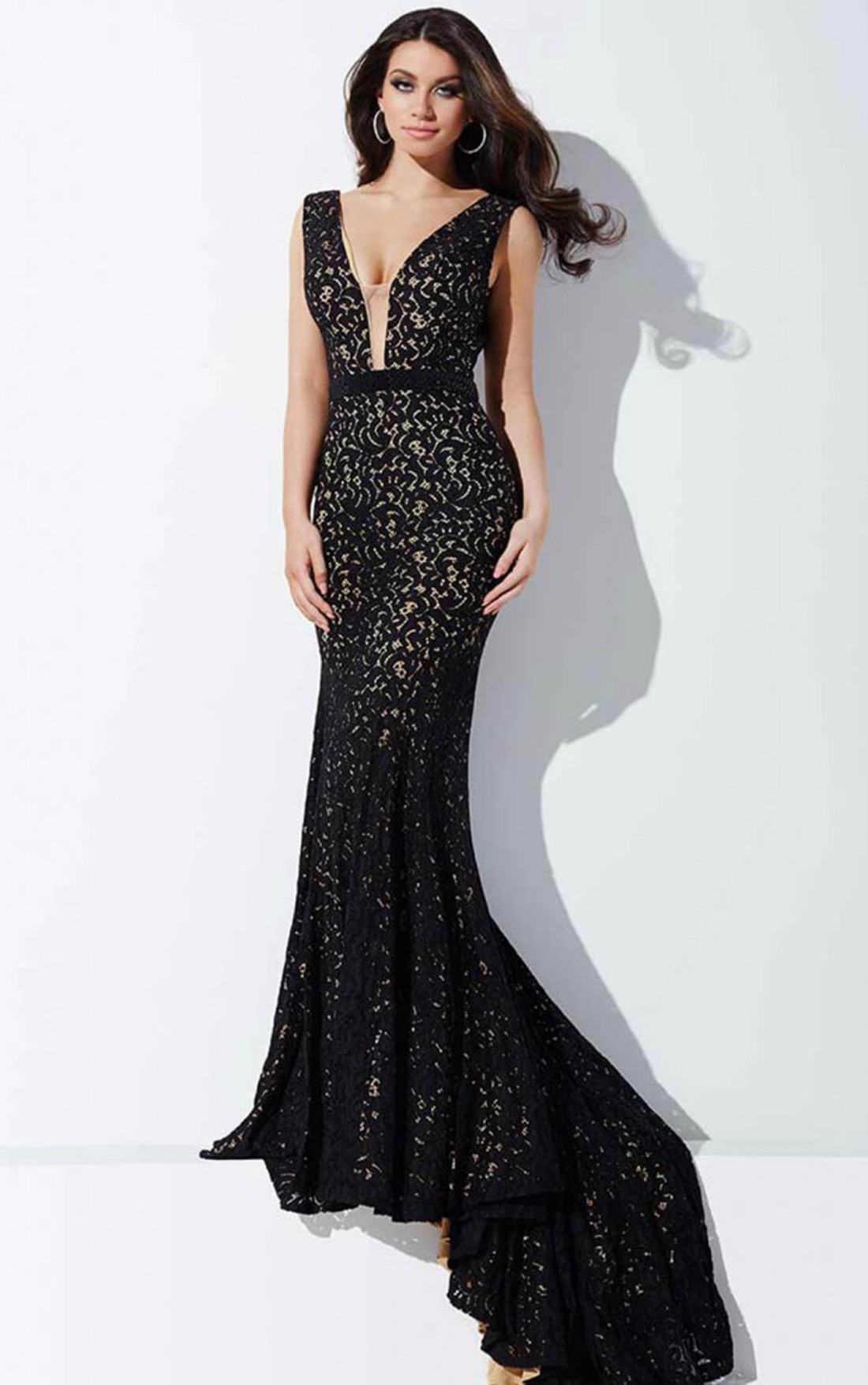 Jovani Dresses | Womens Black Fitted Lace Dress | Womens Dresses ...