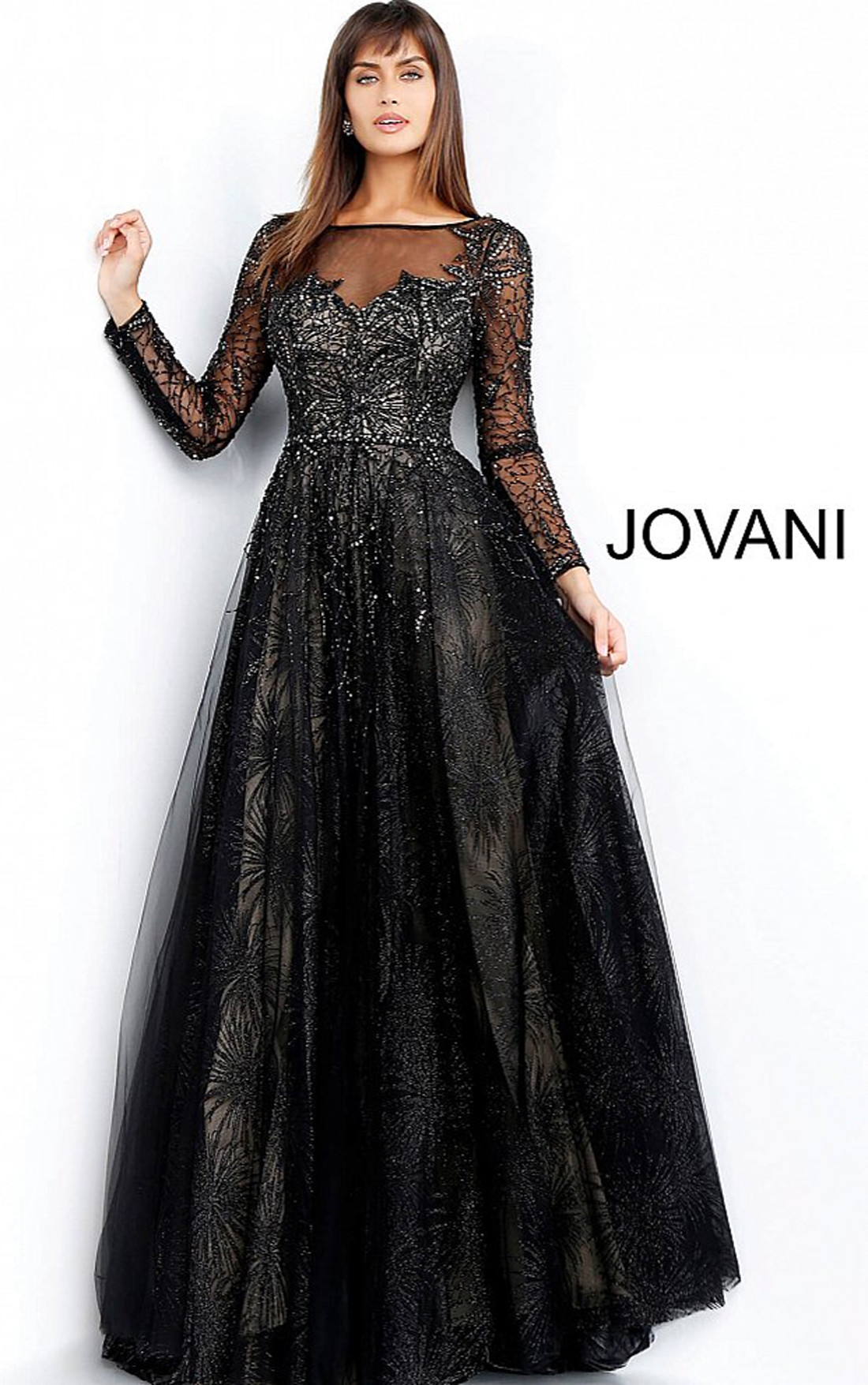9e4ebb72b8691 Jovani Dresses | Womens Black Long Sleeve Embellished Evening Gown ...