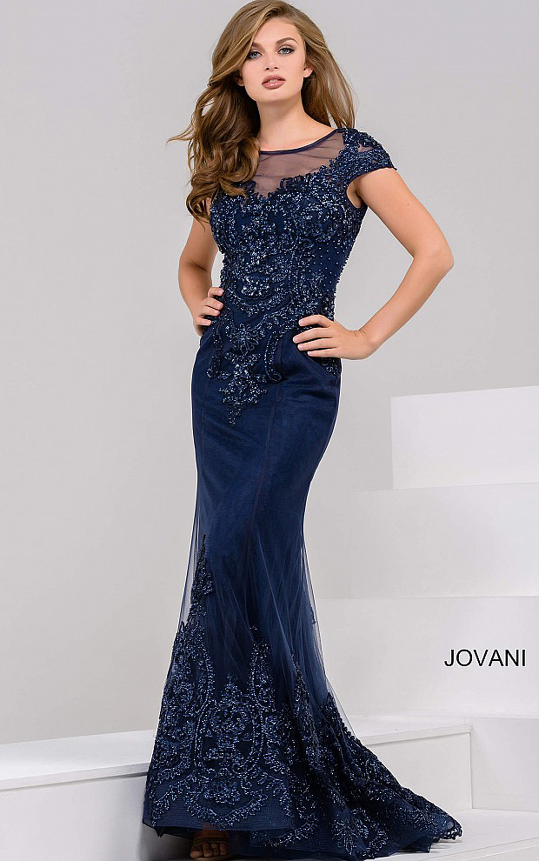Jovani Dresses Womens Navy Embellished Cap Sleeves Sheer