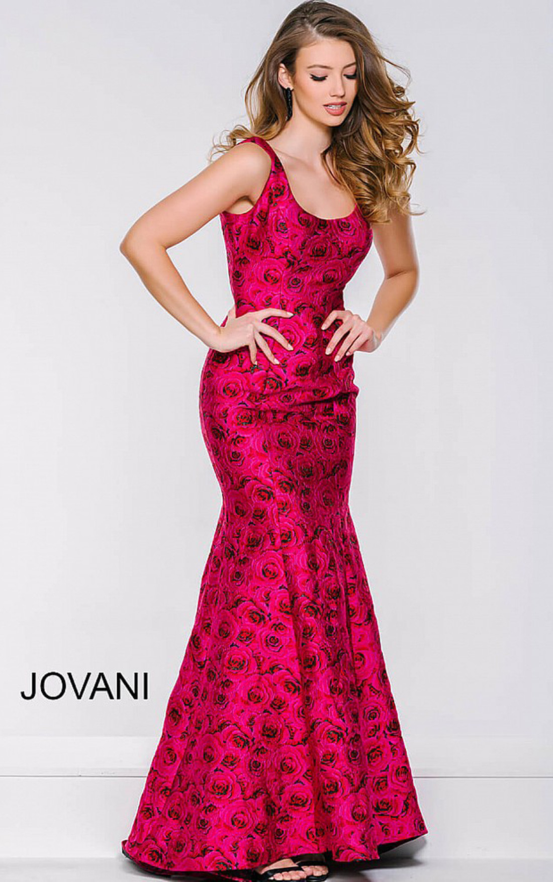 Jovani Dresses | Womens Pink Roses Sleeveless Trumpet Dress ...