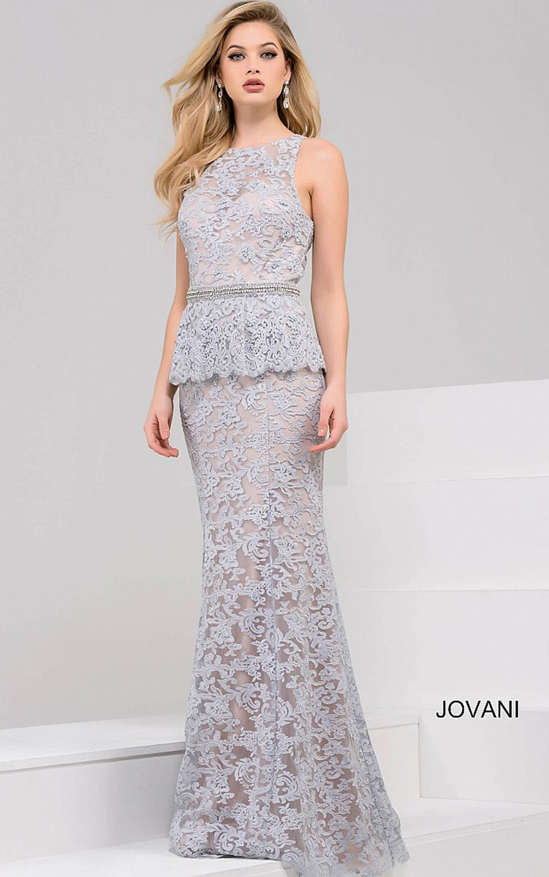 e018abf86a Jovani - Blue Sleeveless Peplum Mermaid Dress