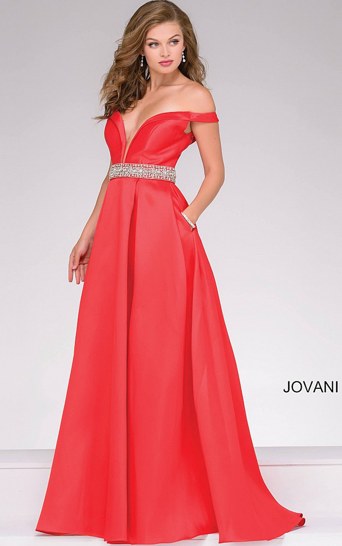 Jovani Dresses | Womens Red Off the Shoulder Ballgown | Womens ...