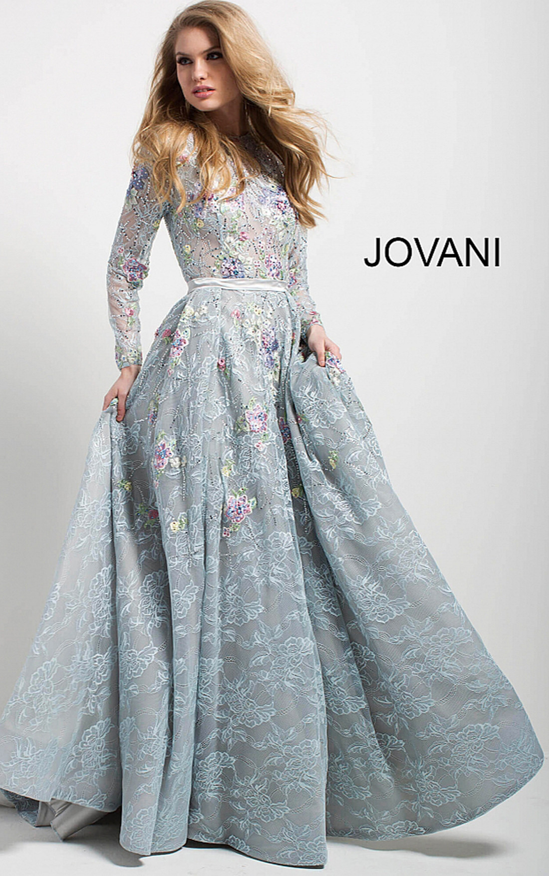 2ab514b914 Jovani - Powder Blue Floral Embroidered Lace Long Sleeve Evening Gown  (54550) ...
