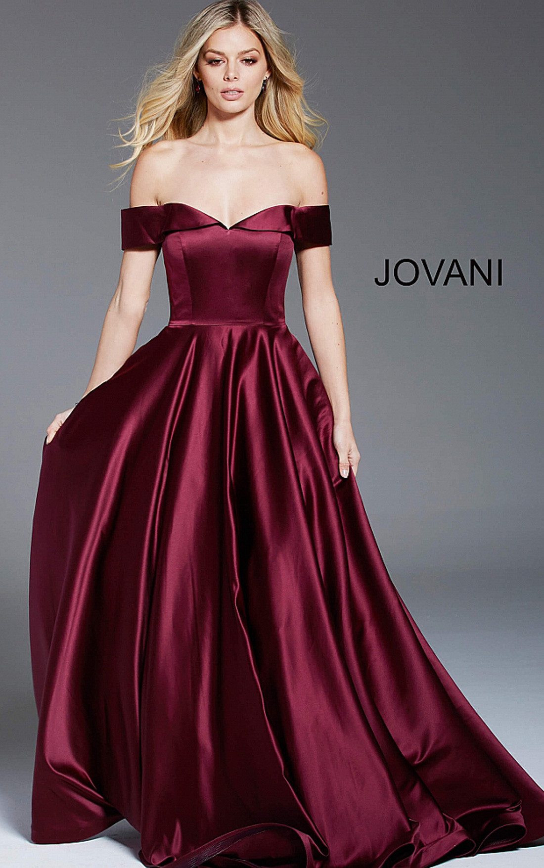 Jovani Dresses | Womens Wine Off the Shoulder Pleated A Line Satin ...