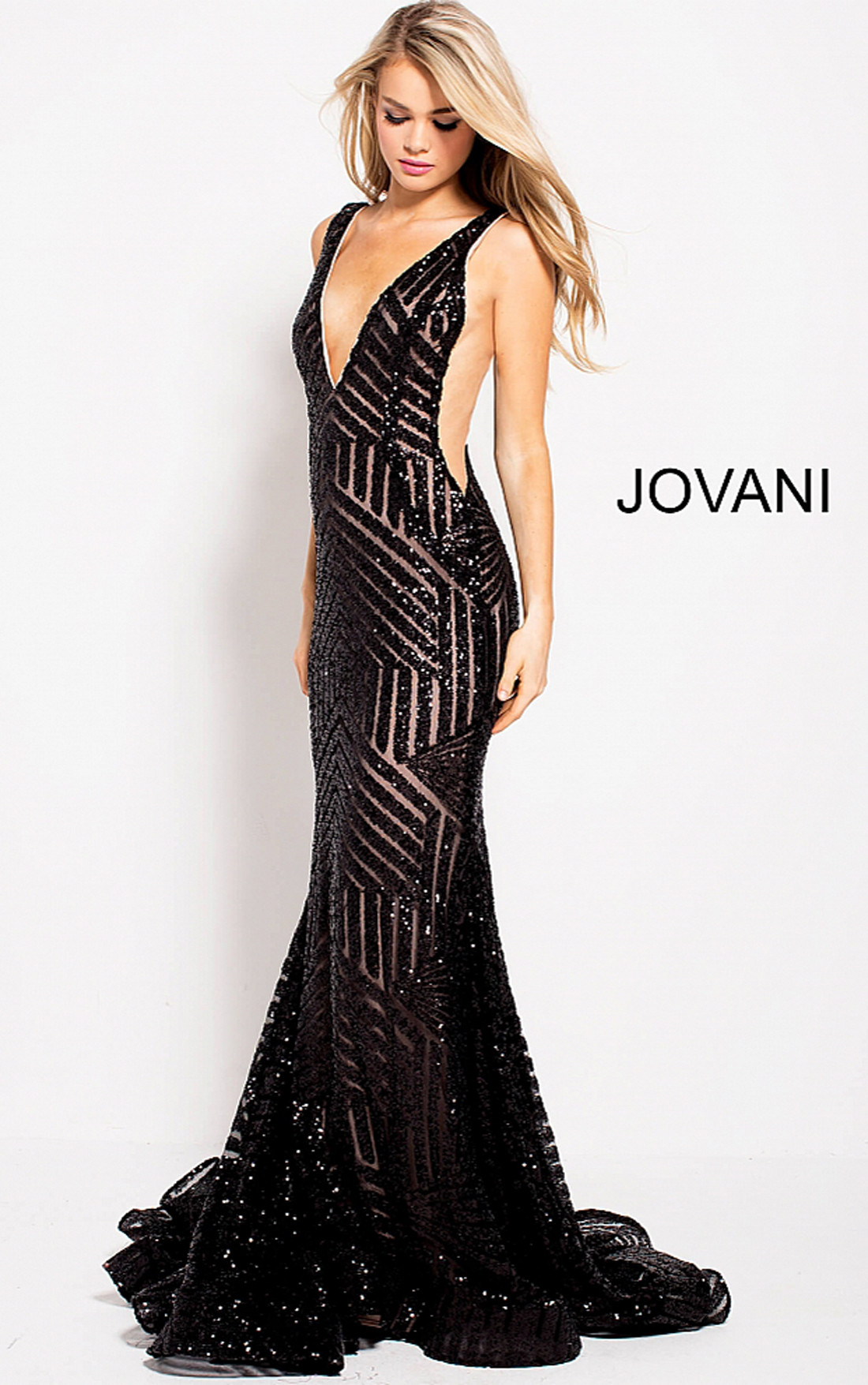 bd5966a89199 Jovani Dresses | Womens Black Sequined V Neck Fitted Dress | Womens ...