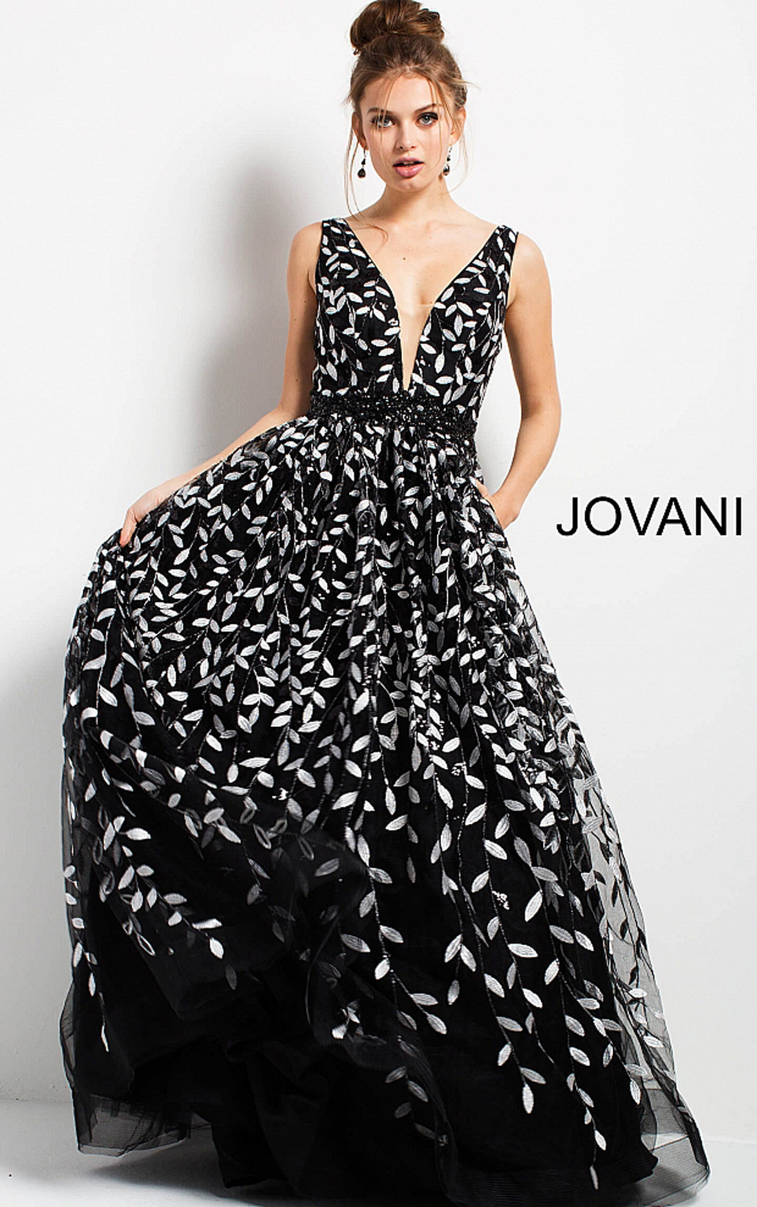 a8a2e50dfd99 Jovani Dresses | Womens Black and White Floral Gown | Womens Dresses ...