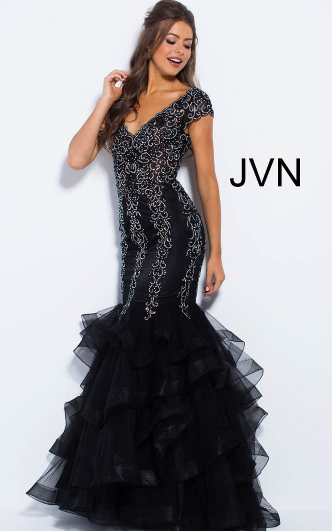 Jovani Dresses | Womens Black Tiered Bottom Cap Sleeve Mermaid Prom ...