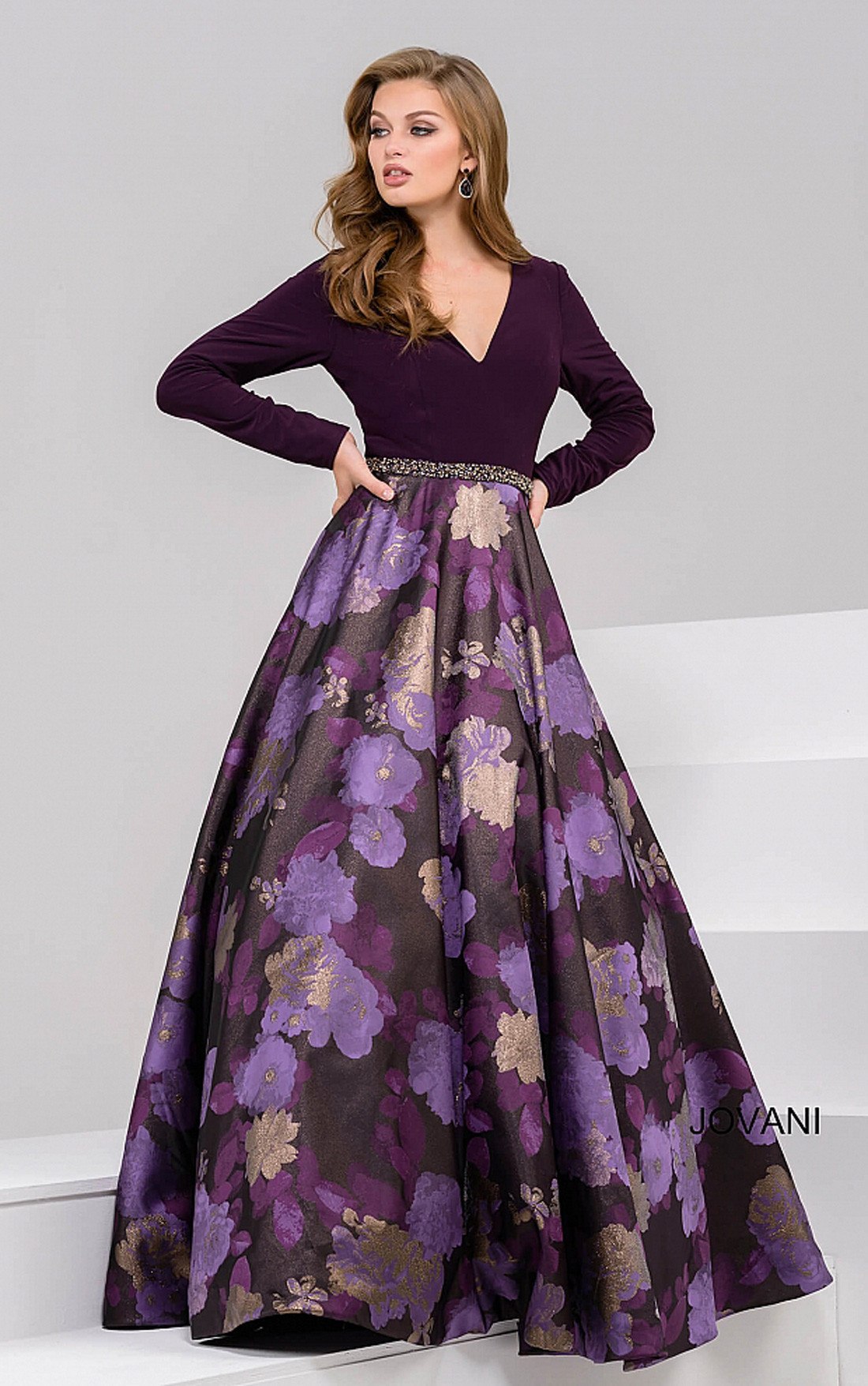 Jovani Dresses | Womens Dark Purple Long Sleeve Deep V Neckline ...