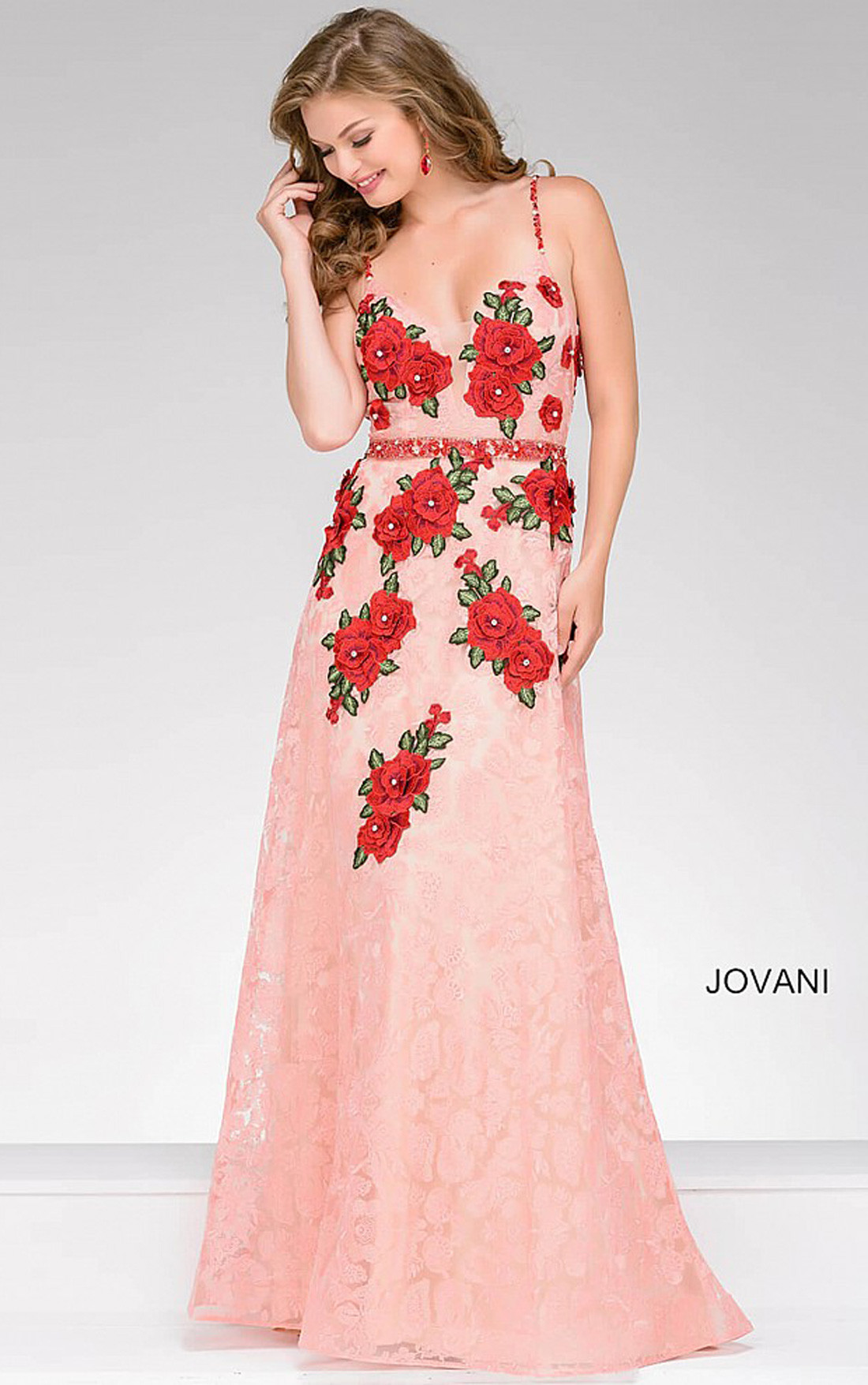 Jovani Dresses | Womens Peach Sleeveless Lace Dress with Red Floral ...