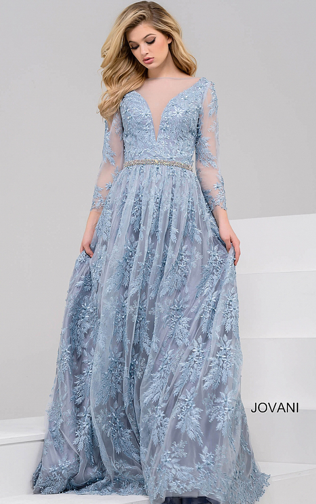 Jovani Dresses | Womens Powder Blue Long Sleeve Embroidery Gown ...