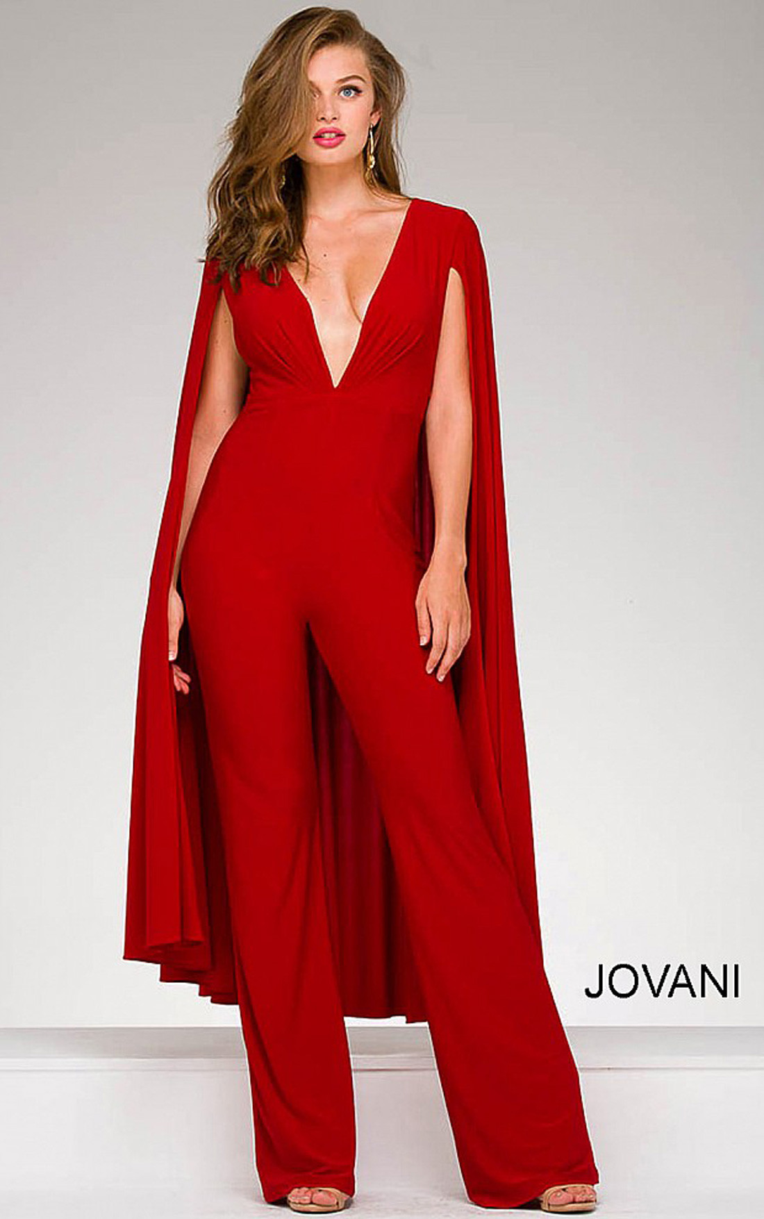 Jovani Dresses | Womens Red Deep Plunging Neckline Jersey Cape ...