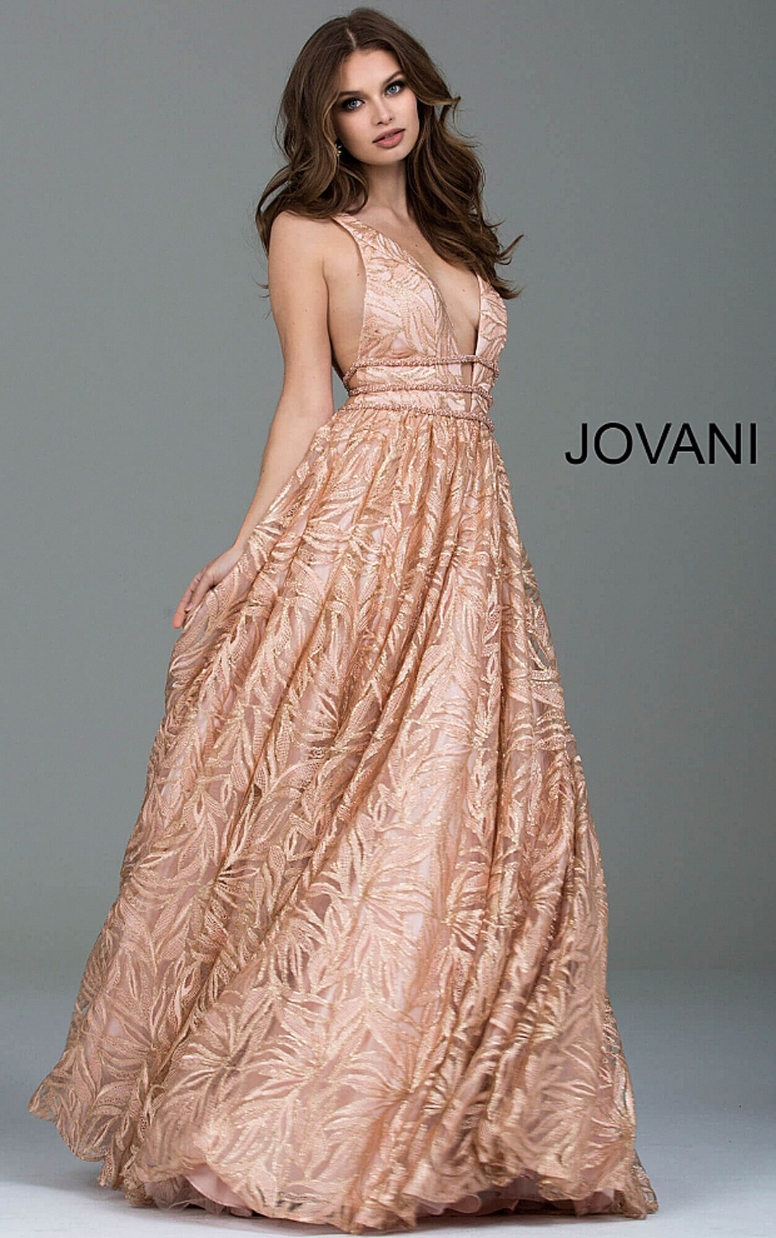 Jovani Dresses | Womens Rose Gold Embellished Backless Evening ...