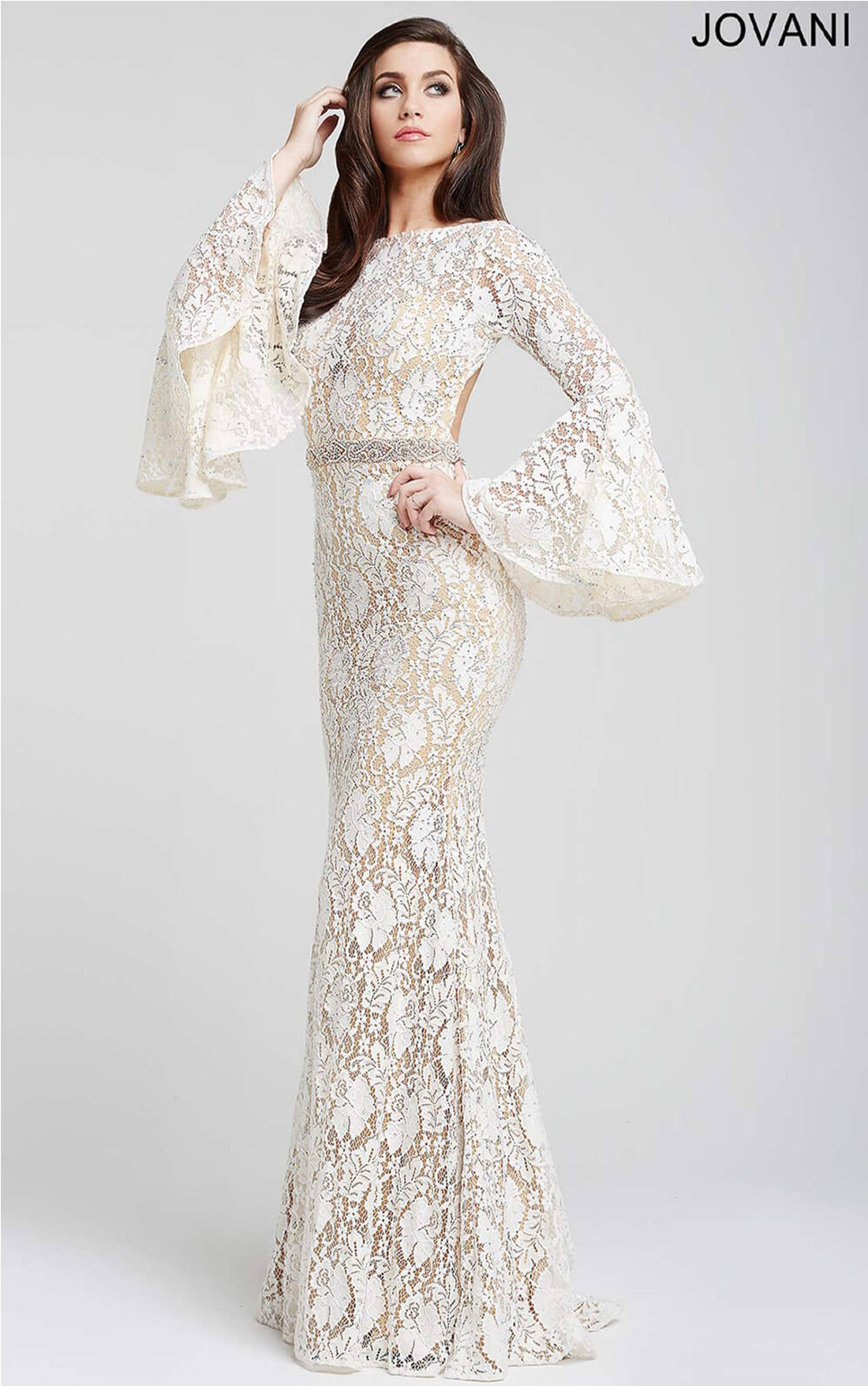Jovani Dresses | Womens Off White Bell Sleeve Evening Dress ...