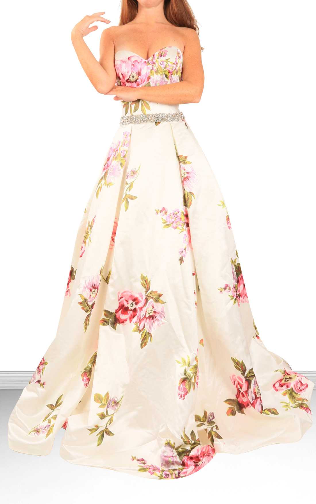 Jovani Dresses | Womens White Floral Strapless Gown | Womens Dresses ...