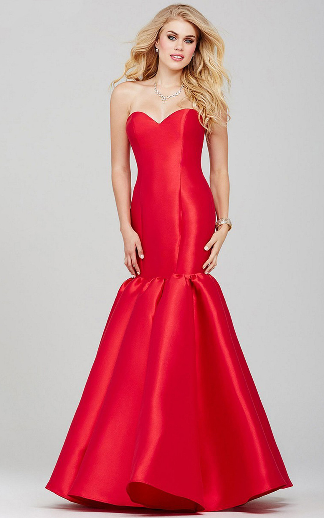 Jovani Dresses | Womens Red Strapless Mermaid Gown | Womens ...