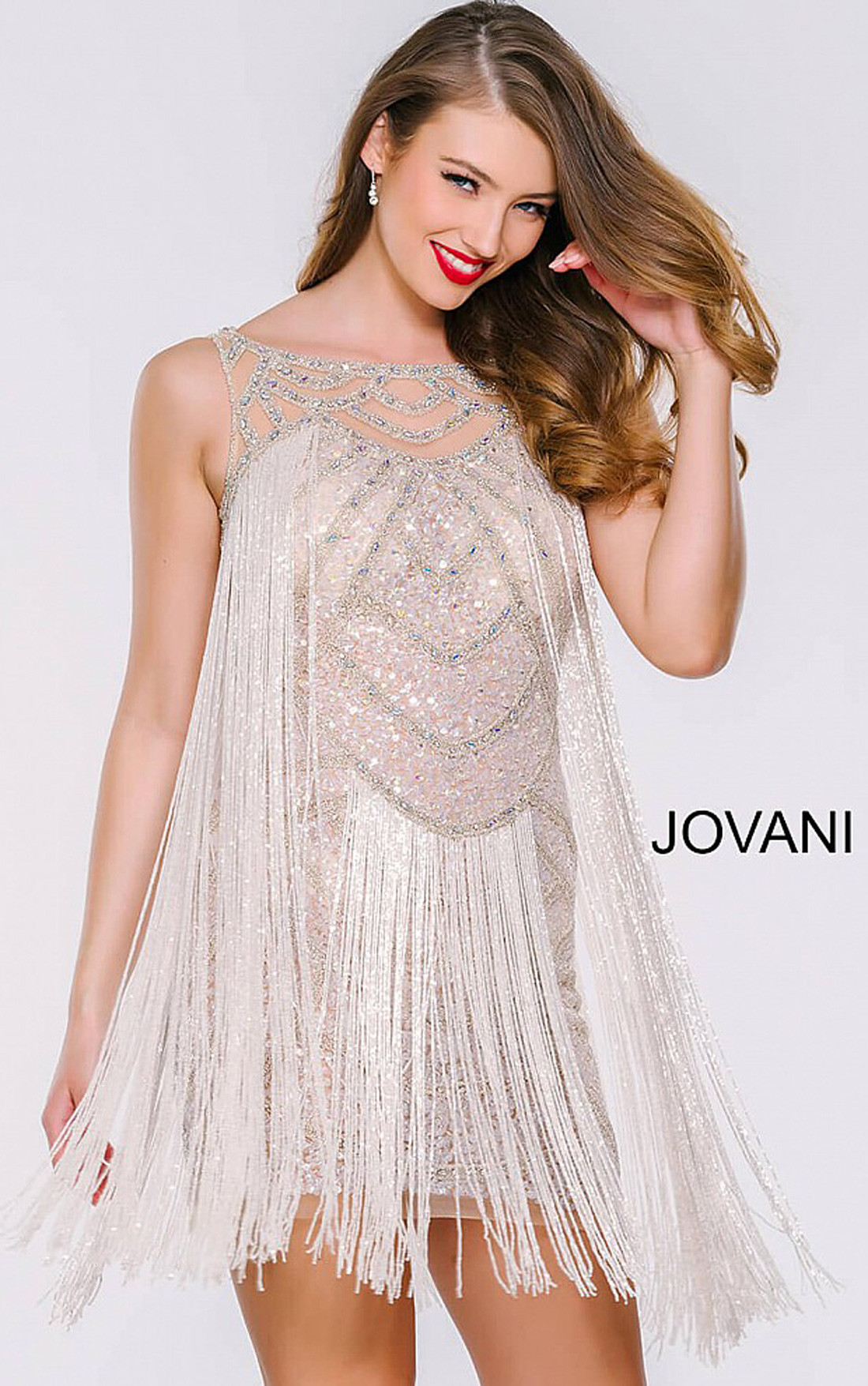 583e366c1fd Jovani - Sleeveless Fringe Cocktail Dress (41061) ...
