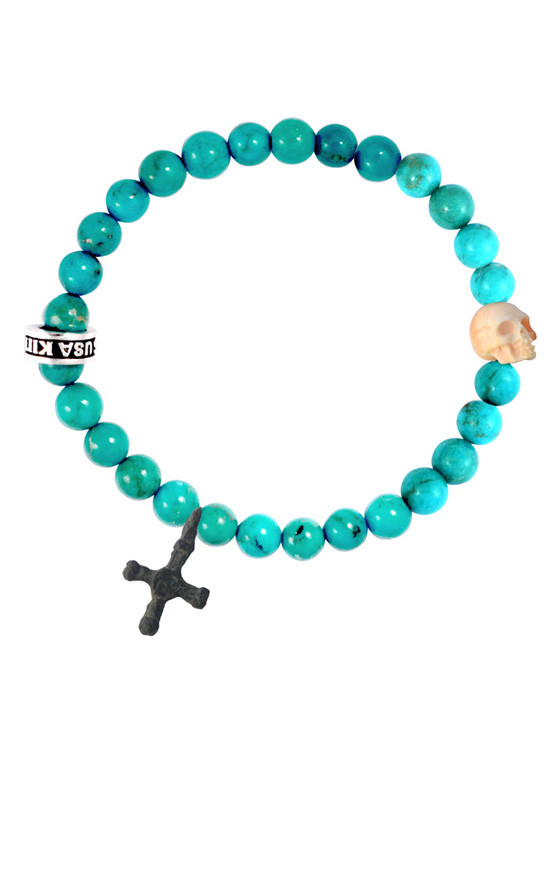 King Baby - Turquoise Bead Bracelet with Conch Shell Skull and Medieval  Cross